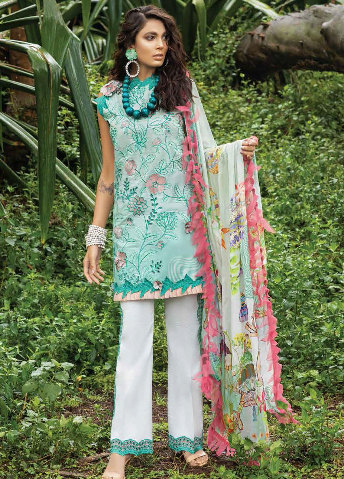 Hemline By Mushq Embroidered Chikankari Suits Unstitched 3 Piece MQ21H 10 Enchanted Forest - Spring / Summer Collection