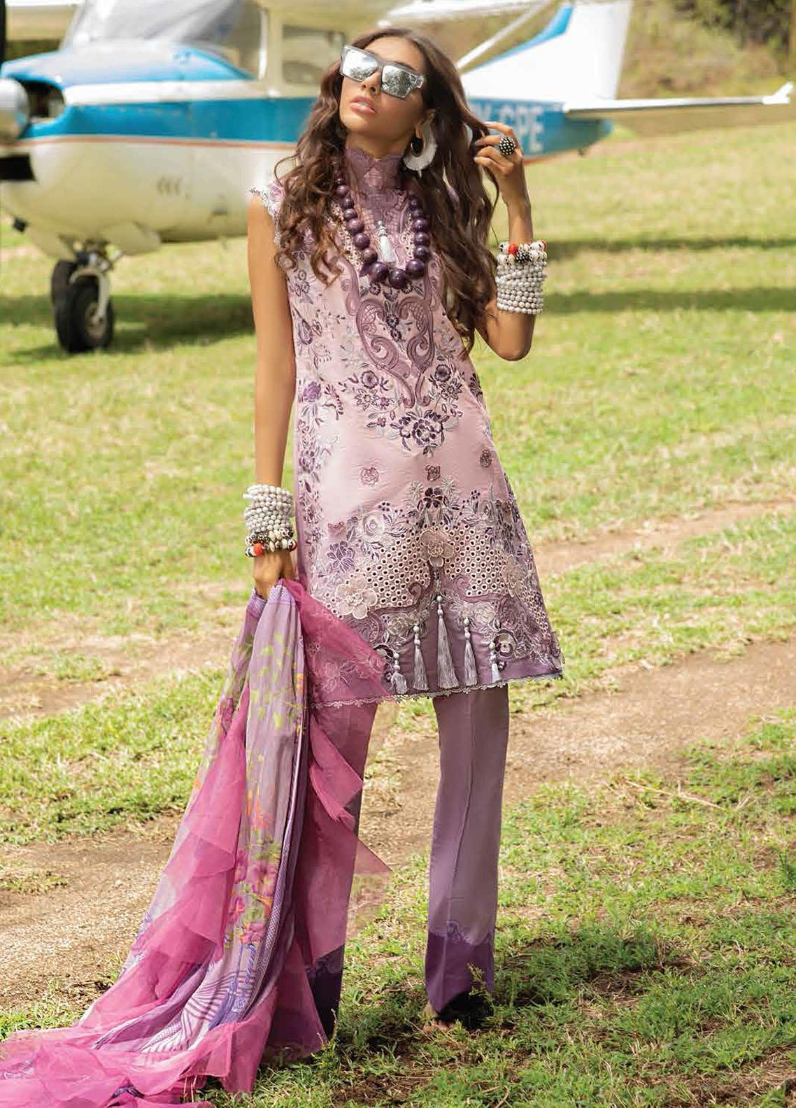 Hemline By Mushq Embroidered Chikankari Suits Unstitched 3 Piece MQ21H 13 Fragrant Lilac - Spring / Summer Collection