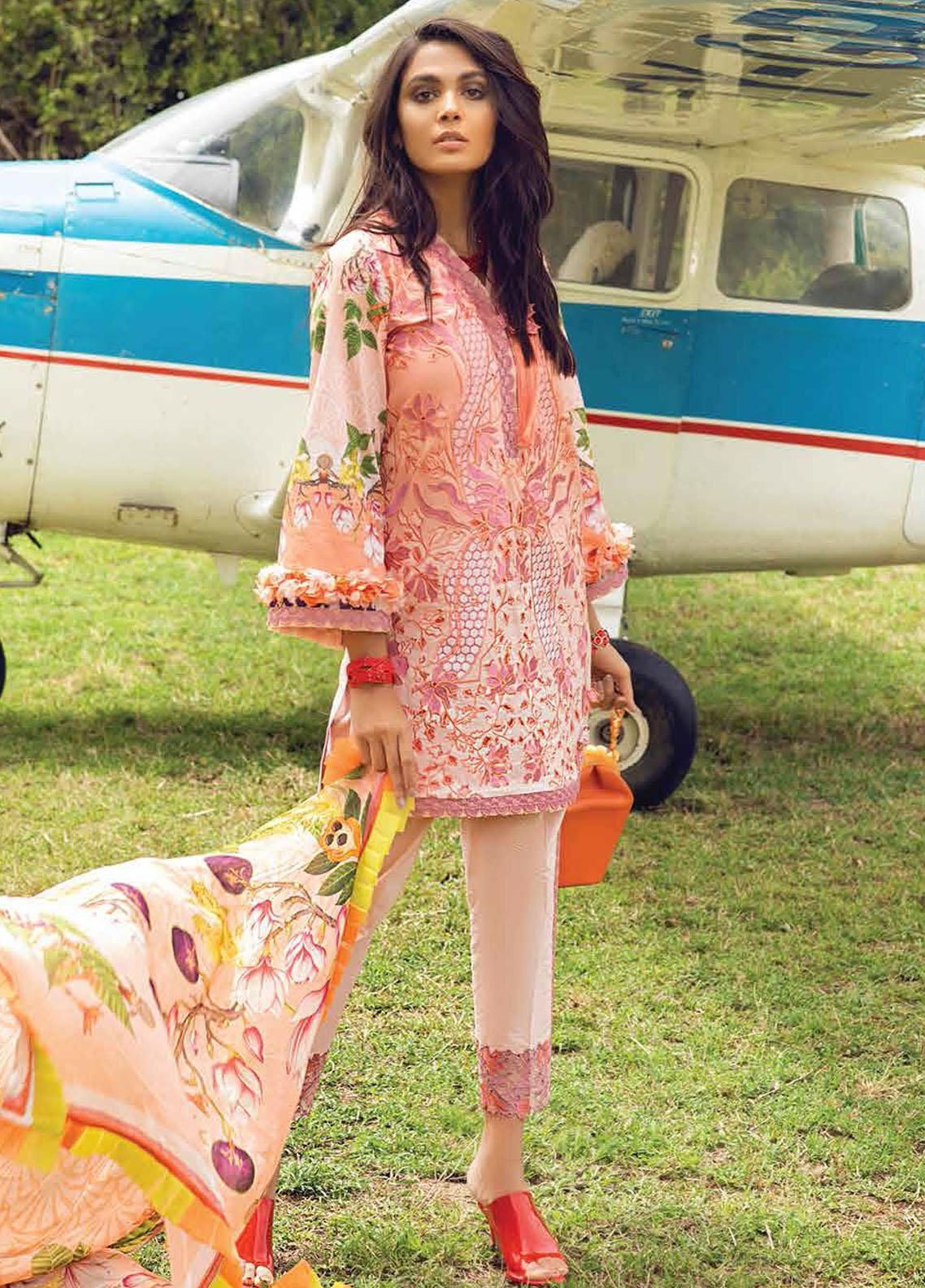Hemline By Mushq Embroidered Chikankari Suits Unstitched 3 Piece MQ21H 15 Prairie Sunset - Spring / Summer Collection