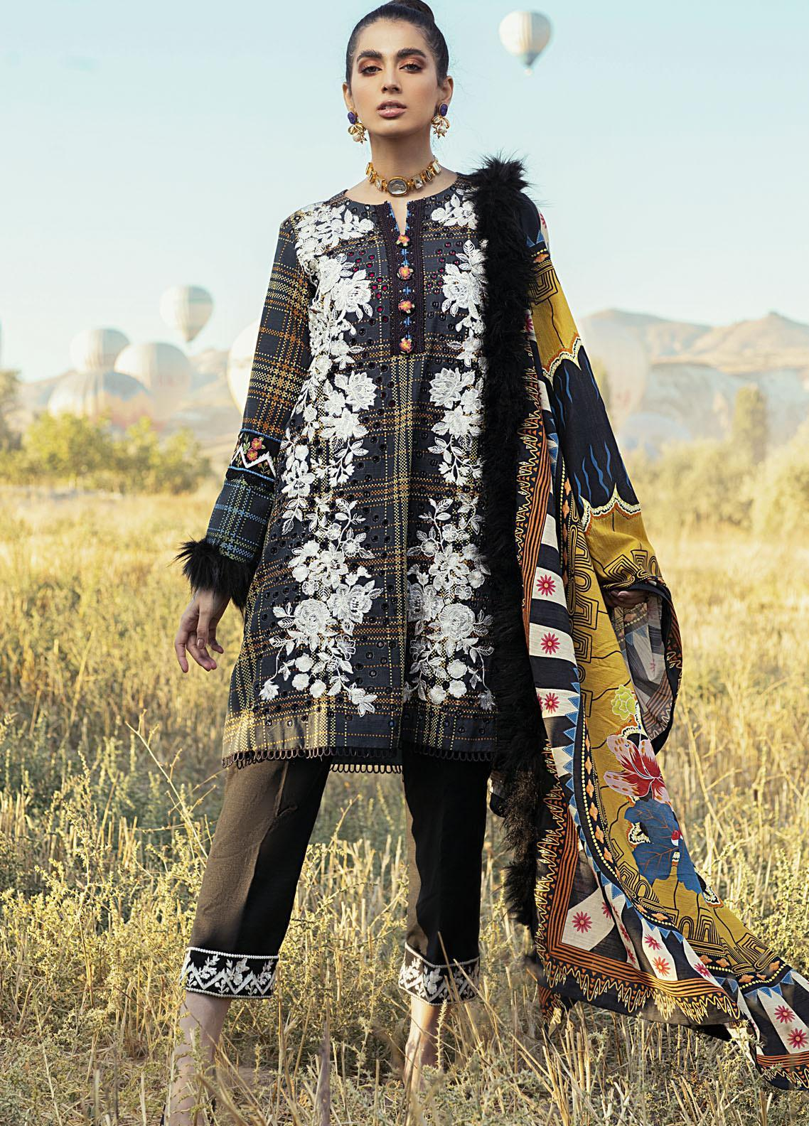 Hemline by Mushq Embroidered Khaddar Unstitched 3 Piece Suit MQ20HW 08 Raven - Winter Collection