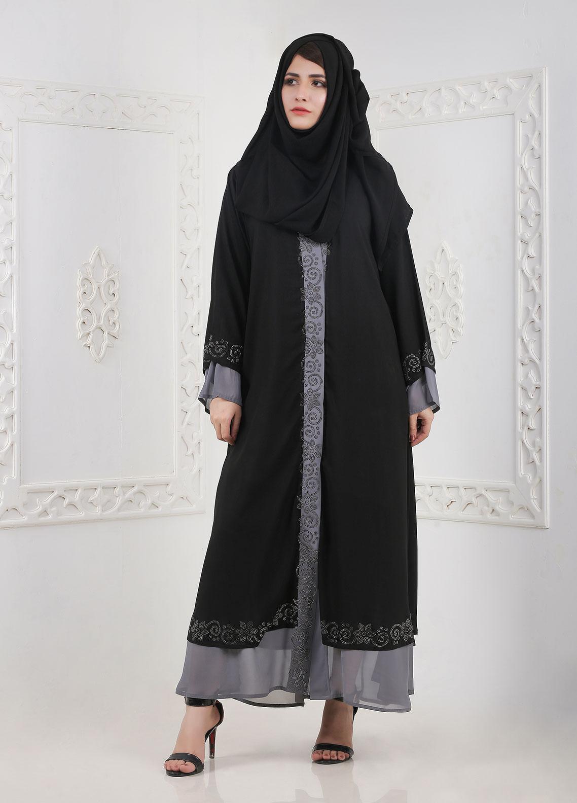 Hijab ul Hareem Front Open Chiffon Stitched Abaya A-0116-BC-A401