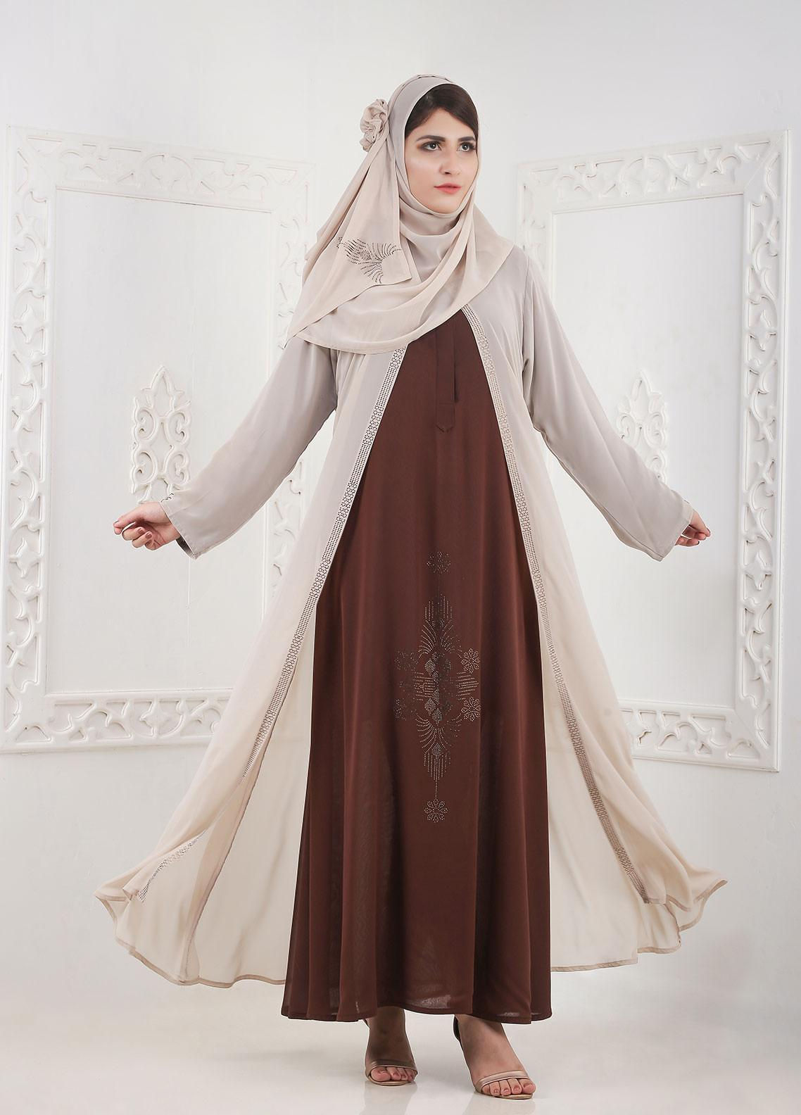 Hijab ul Hareem Inner Front Close Chiffon Stitched Abaya A 0124-BC-A407
