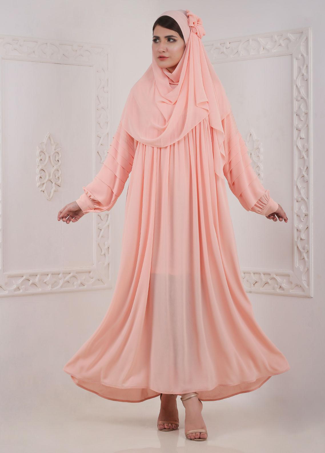 Hijab ul Hareem Front Close Chiffon Stitched Abaya H-0120-B-114