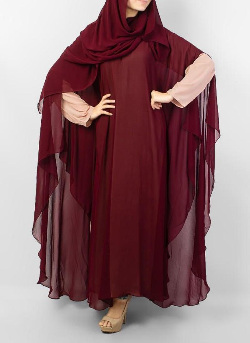 Hijab ul Hareem Jilbab Chiffon Stitched Abaya JILBAB-C-Maroon