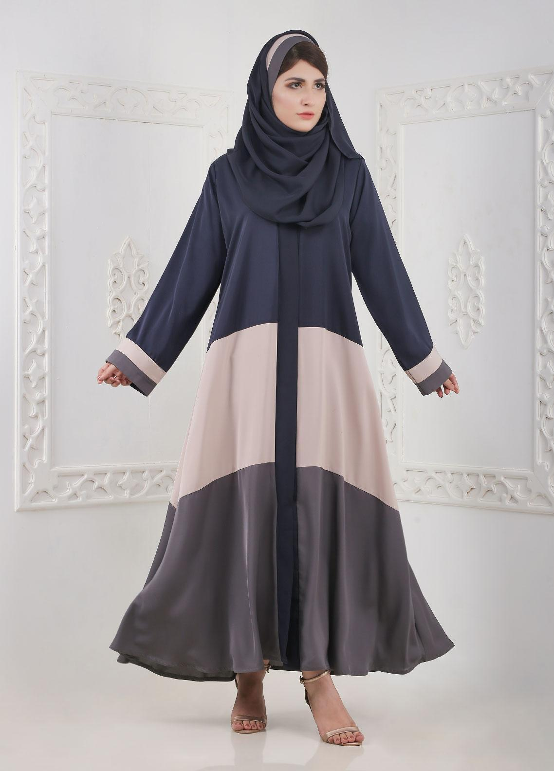 Hijab ul Hareem Front Open Nida Stitched Abaya H-0116-R-116