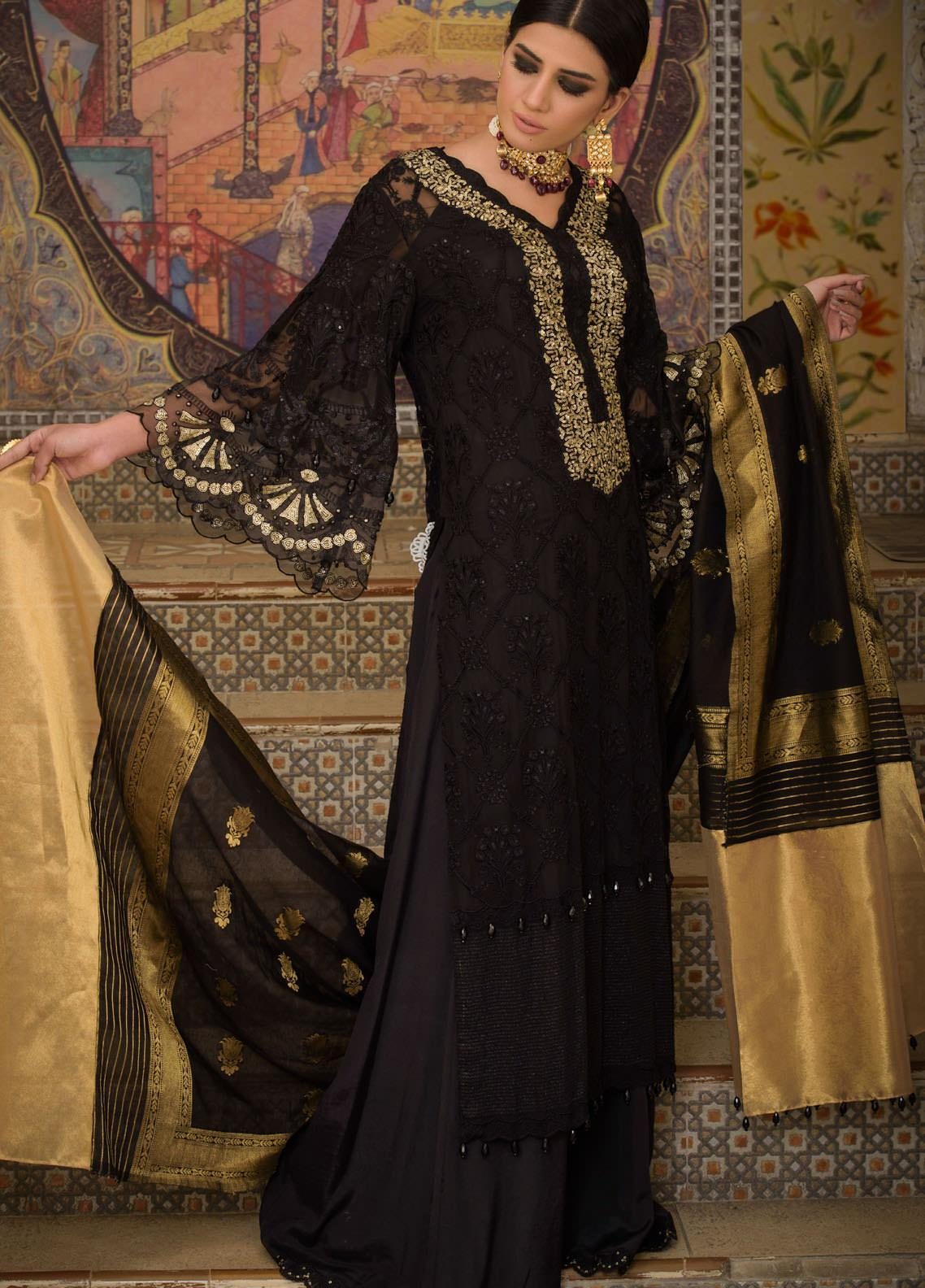 Honey Waqar by Regalia Textiles Embroidered Chiffon Unstitched 3 Piece Suit RGT20HW Chambeli - Luxury Collection