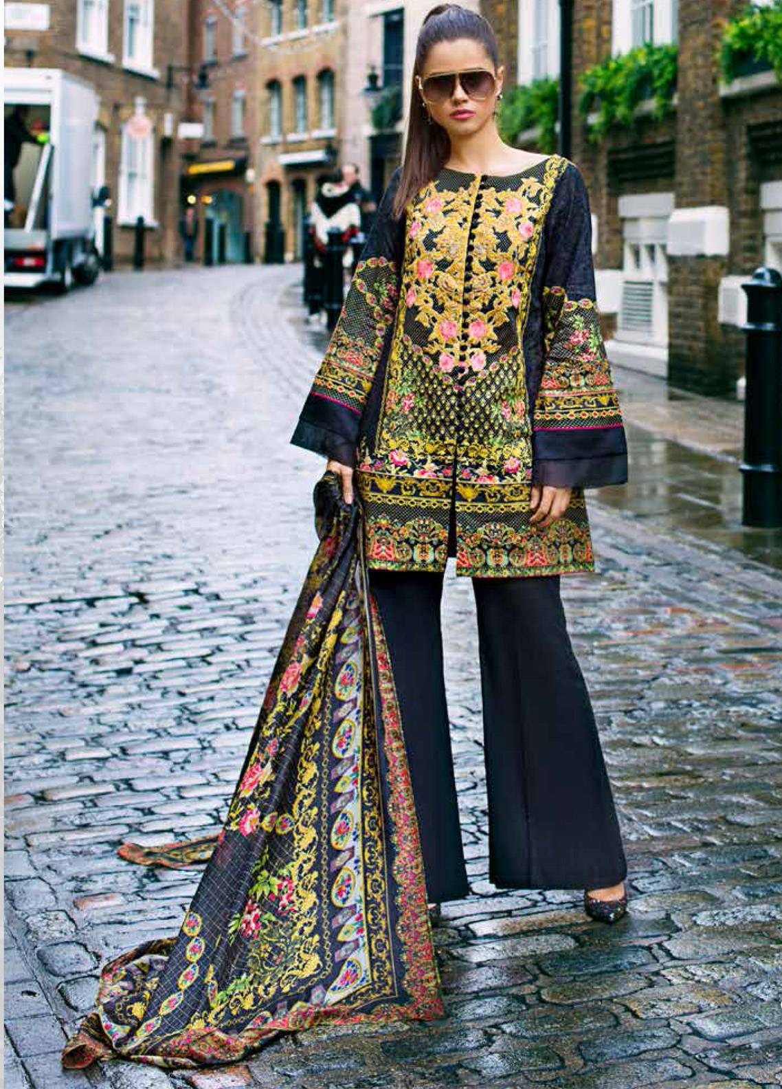 Honey Waqar Embroidered Lawn Unstitched 3 Piece Suit HW19F 9A PAVLOVO POSAD - Festive Collection