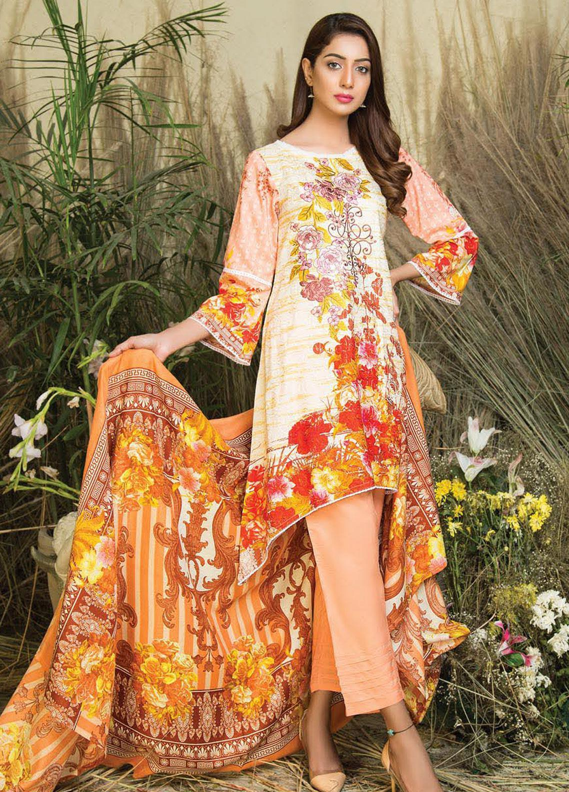 Hurrem Embroidered Chikankari Unstitched 3 Piece Suit HM19CK 19590 - Luxury Collection