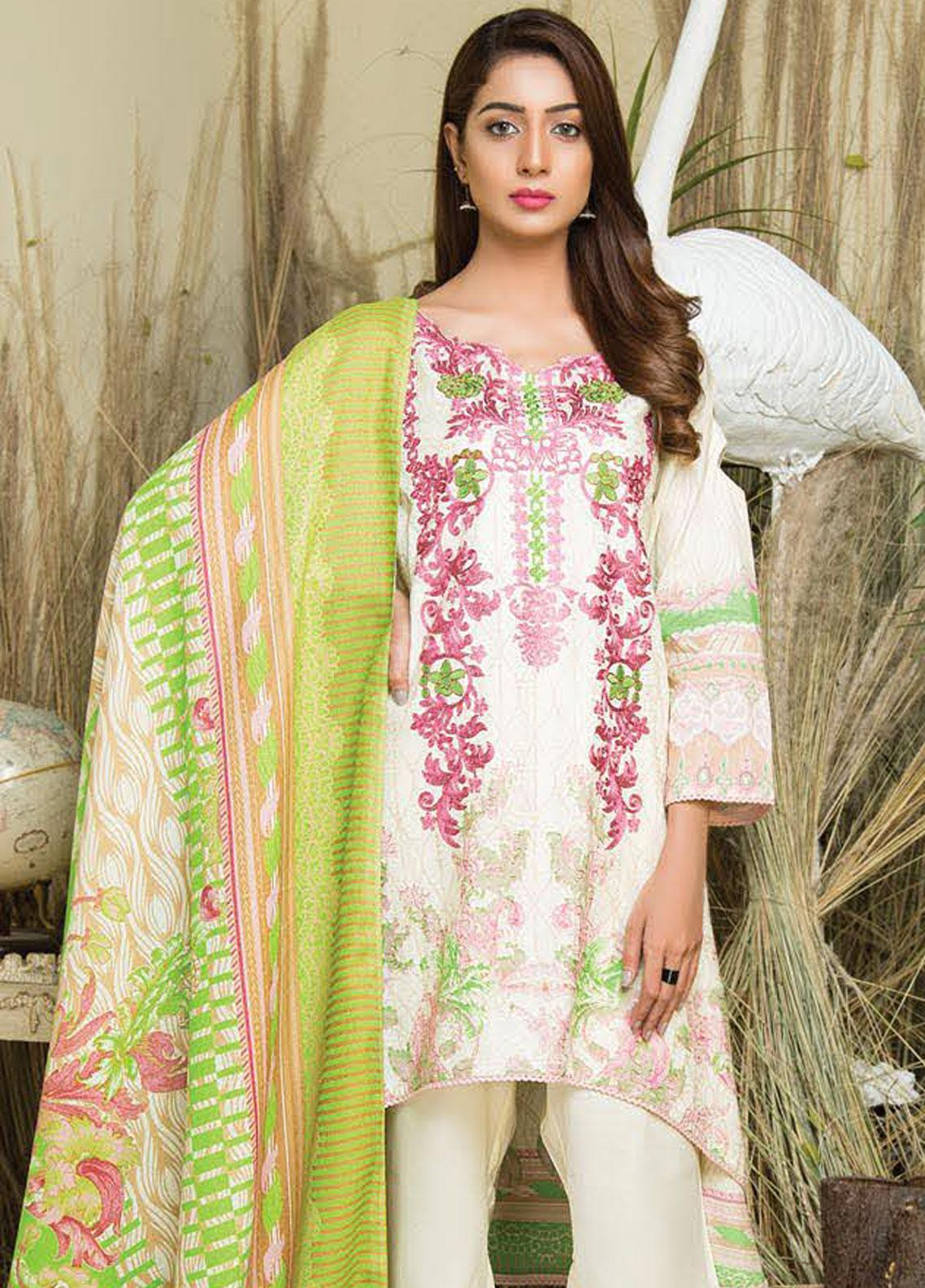 Hurrem Embroidered Chikankari Unstitched 3 Piece Suit HM19CK 19595 - Luxury Collection