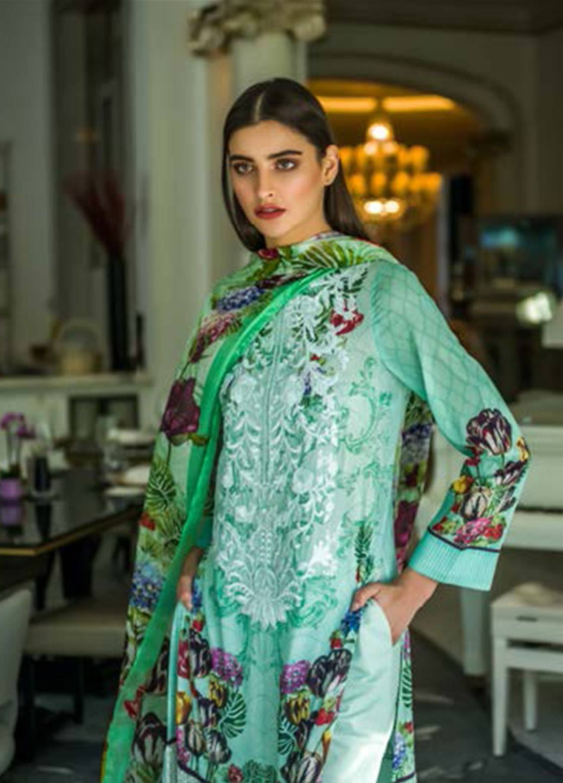Honey Waqar Embroidered Lawn Unstitched 3 Piece Suit HW18F 11A - Eid Collection