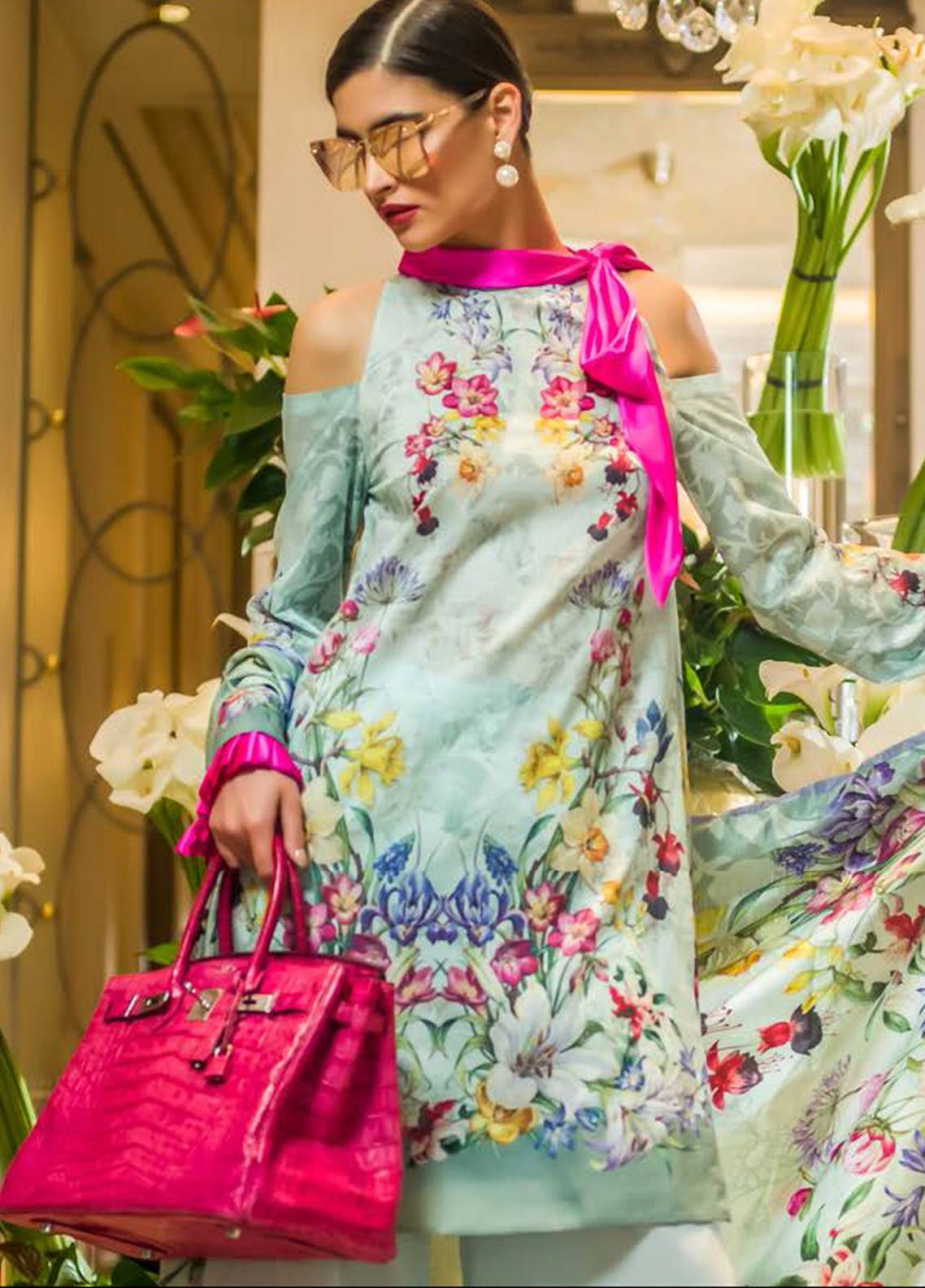 Honey Waqar Embroidered Lawn Unstitched 3 Piece Suit HW18F 3A - Eid Collection