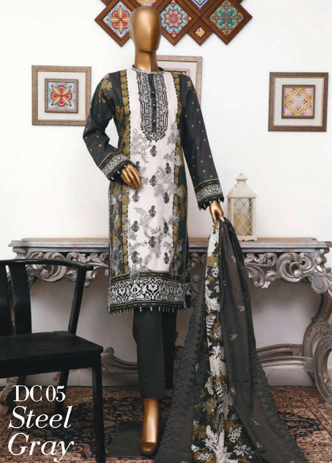 Diamond by HZ Textiles Embroidered Cambric Unstitched 3 Piece Suit HZ20-DC2 05 - Winter Collection