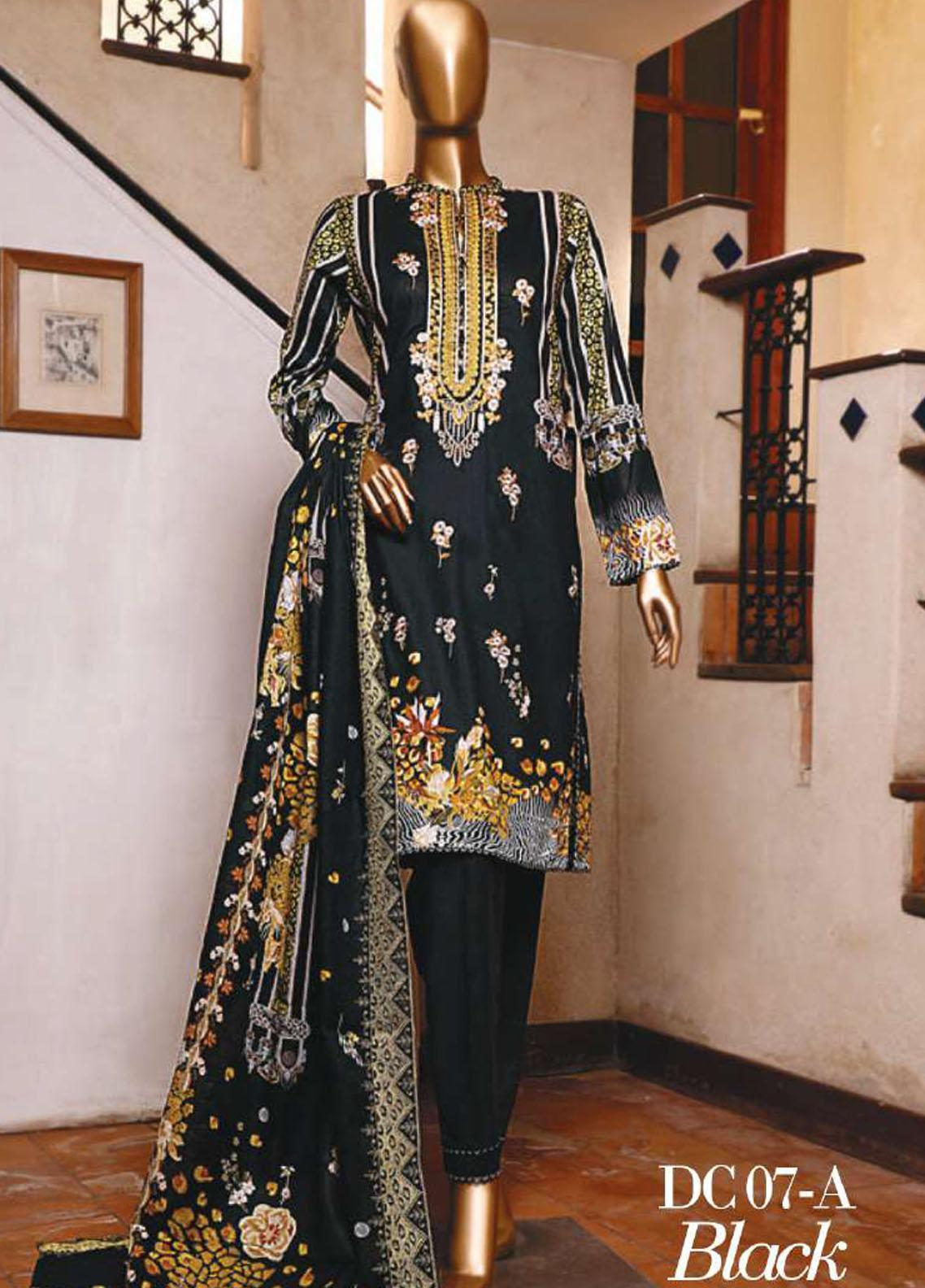Diamond by HZ Textiles Embroidered Cambric Unstitched 3 Piece Suit HZ20-DC2 07A - Winter Collection