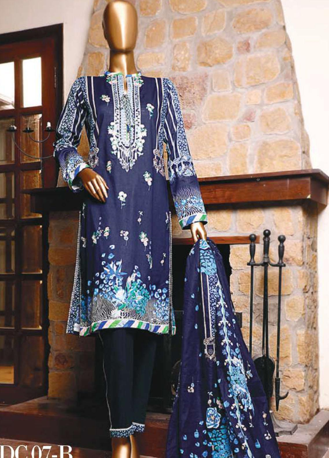 Diamond by HZ Textiles Embroidered Cambric Unstitched 3 Piece Suit HZ20-DC2 07B - Winter Collection