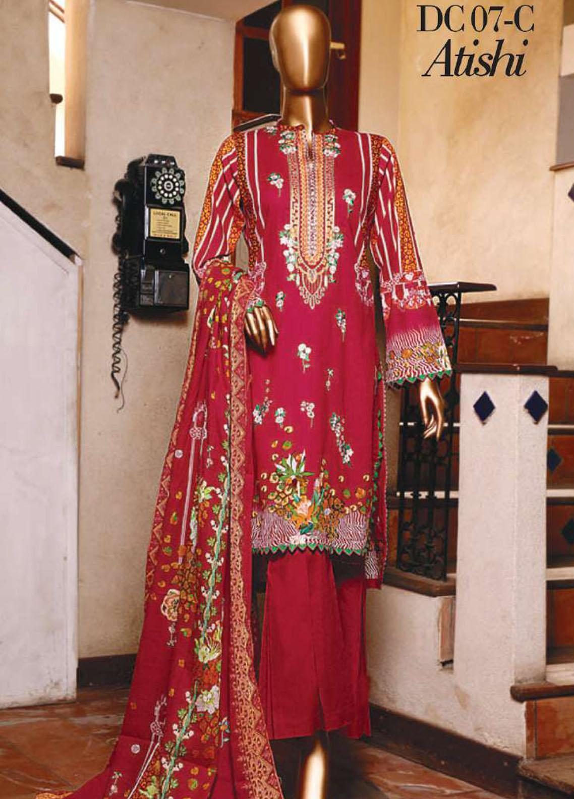 Diamond by HZ Textiles Embroidered Cambric Unstitched 3 Piece Suit HZ20-DC2 07C - Winter Collection