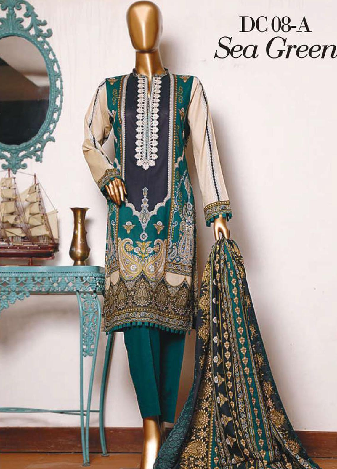 Diamond by HZ Textiles Embroidered Cambric Unstitched 3 Piece Suit HZ20-DC2 08A - Winter Collection