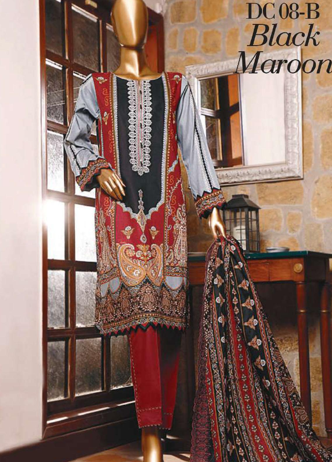 Diamond by HZ Textiles Embroidered Cambric Unstitched 3 Piece Suit HZ20-DC2 08B - Winter Collection
