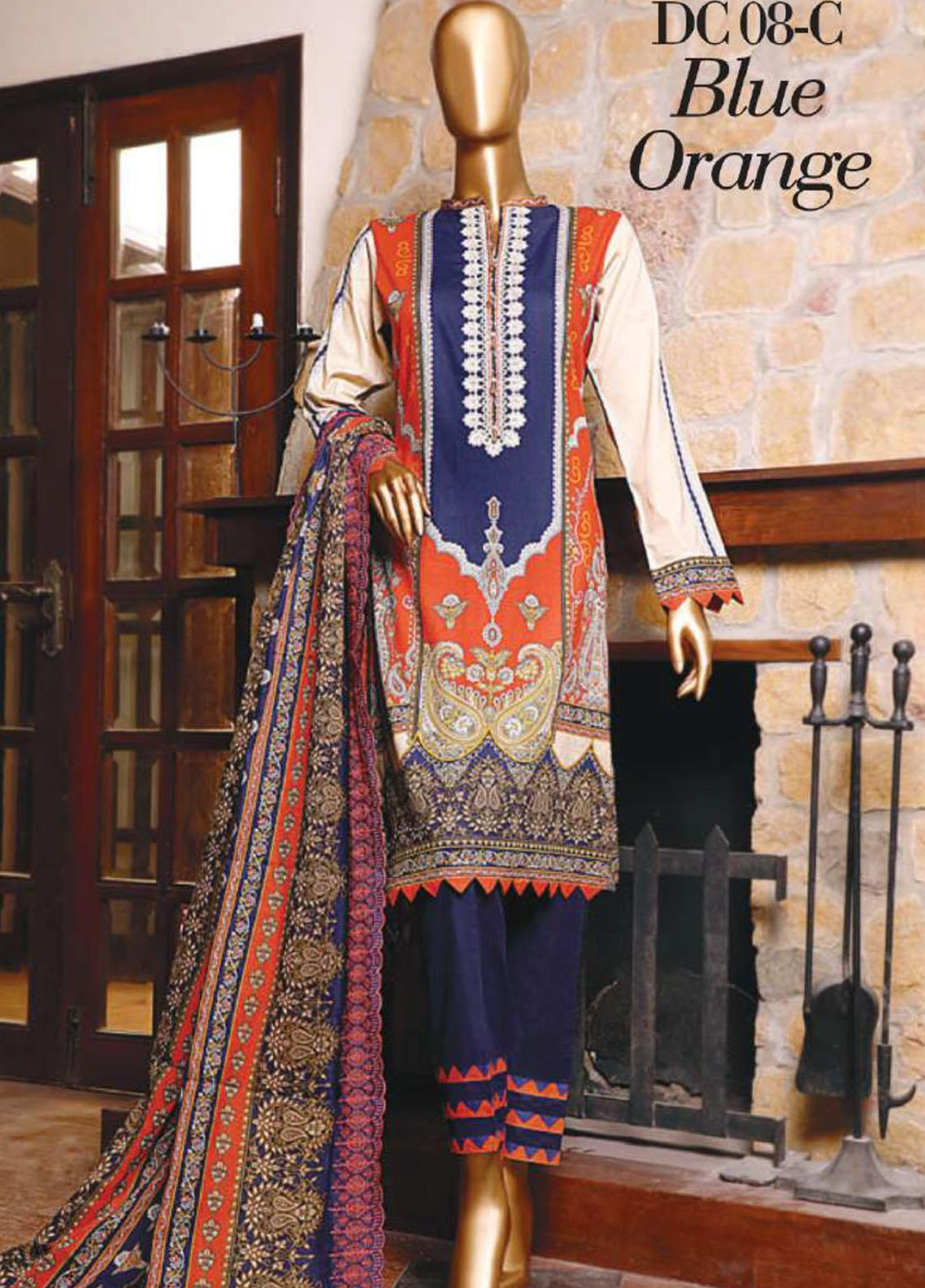 Diamond by HZ Textiles Embroidered Cambric Unstitched 3 Piece Suit HZ20-DC2 08C - Winter Collection