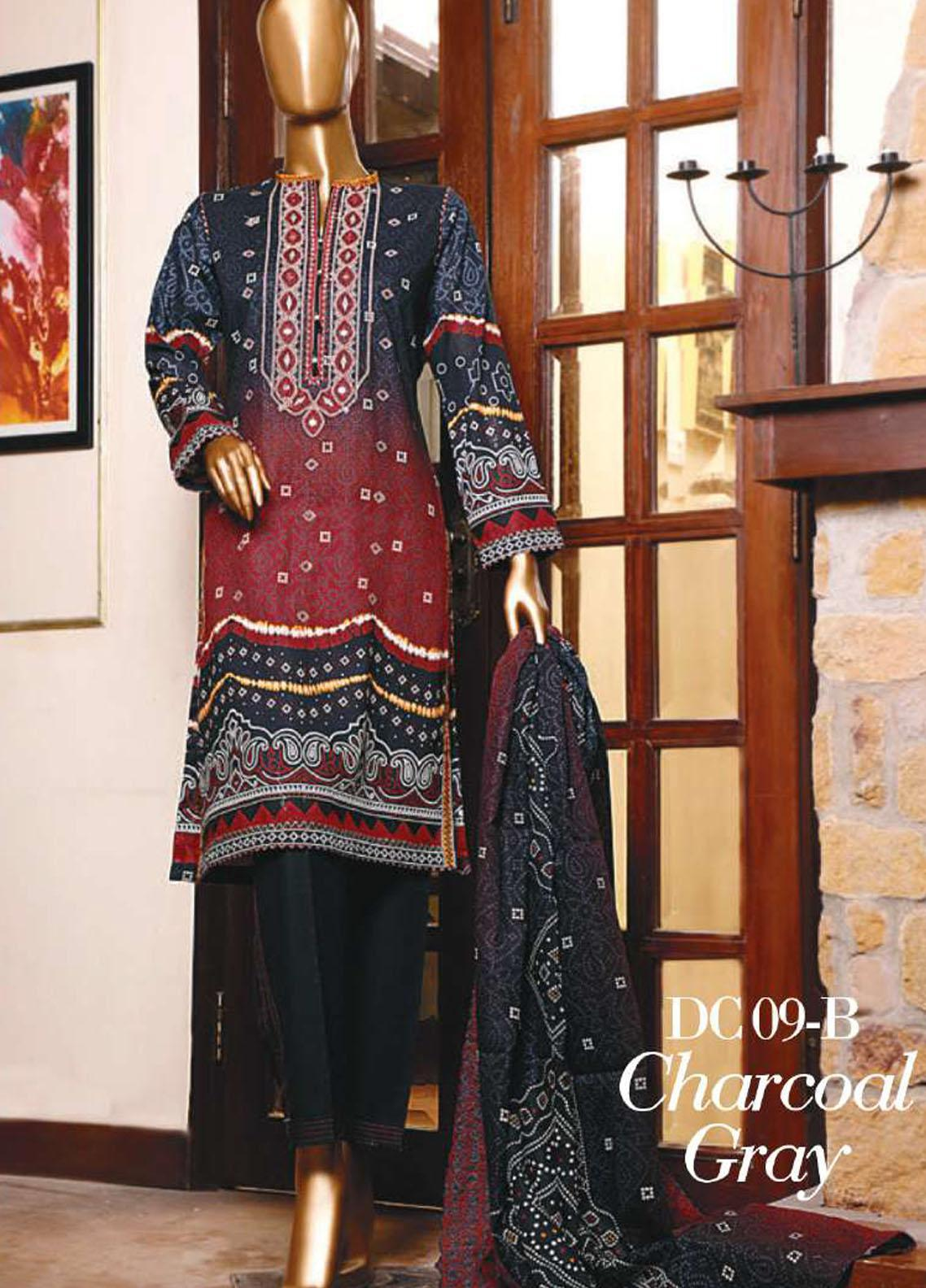 Diamond by HZ Textiles Embroidered Cambric Unstitched 3 Piece Suit HZ20-DC2 09B - Winter Collection