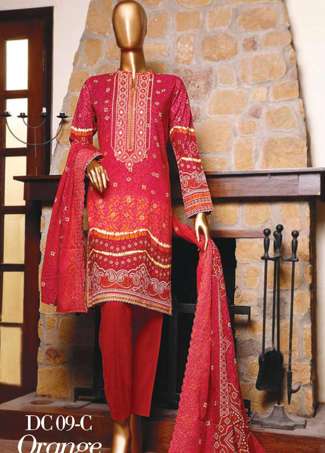 Diamond by HZ Textiles Embroidered Cambric Unstitched 3 Piece Suit HZ20-DC2 09C - Winter Collection