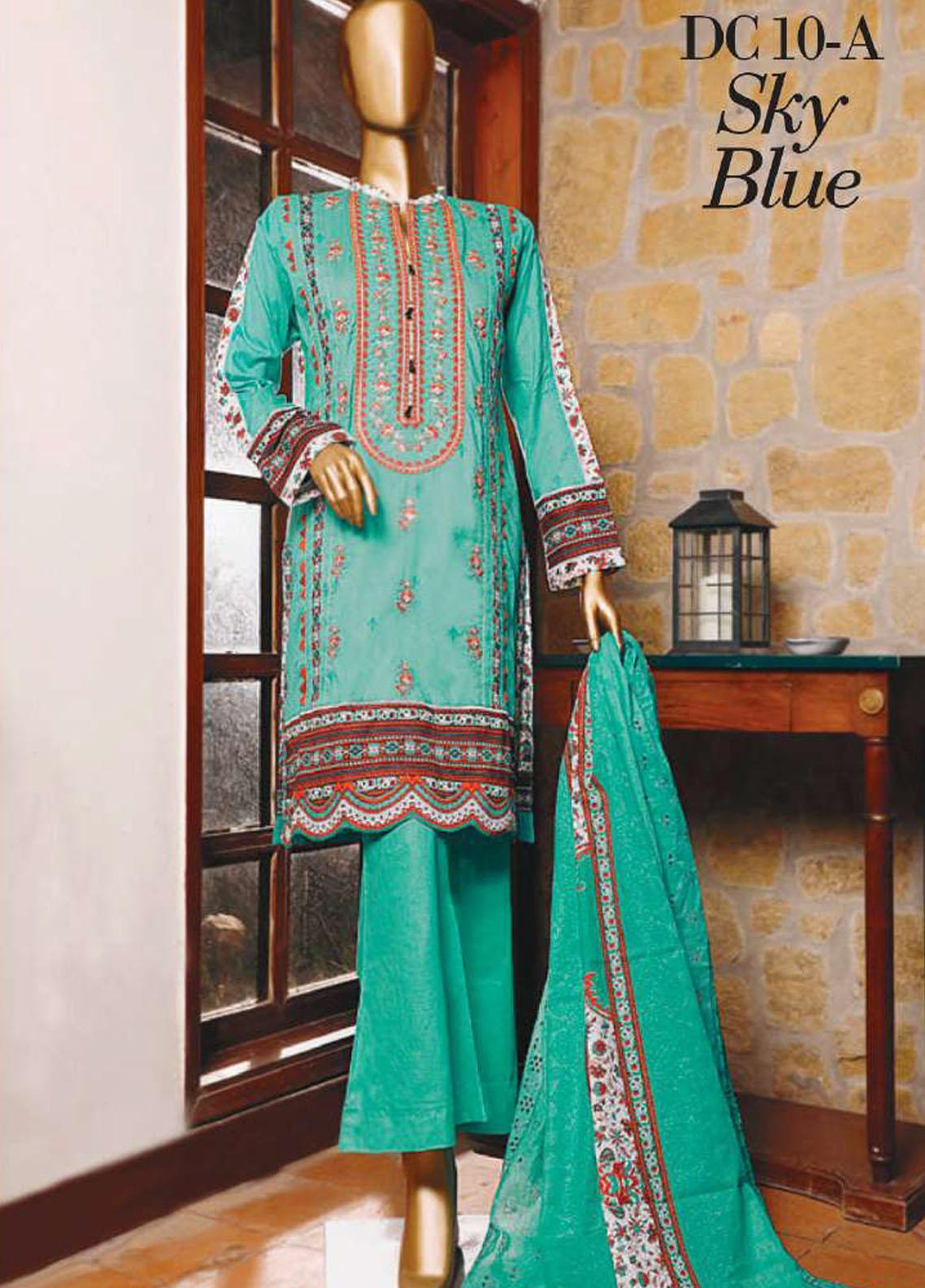 Diamond by HZ Textiles Embroidered Cambric Unstitched 3 Piece Suit HZ20-DC2 10A - Winter Collection