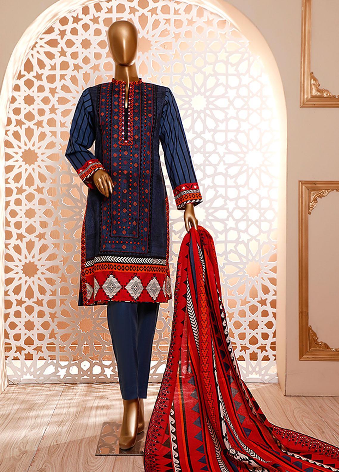 HZ Textiles Embroidered Cambric Unstitched 3 Piece Suit HZ20DC 04-Berry Blue - Winter Collection
