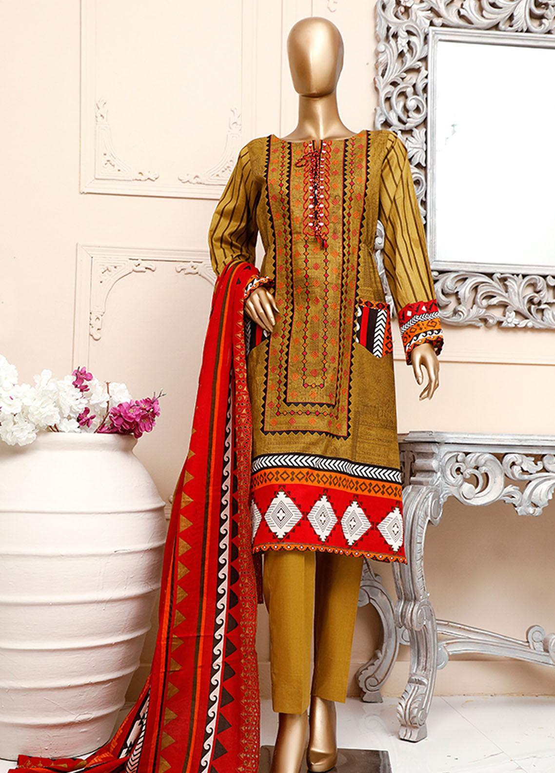 HZ Textiles Embroidered Cambric Unstitched 3 Piece Suit HZ20DC 04 Dhani - Winter Collection