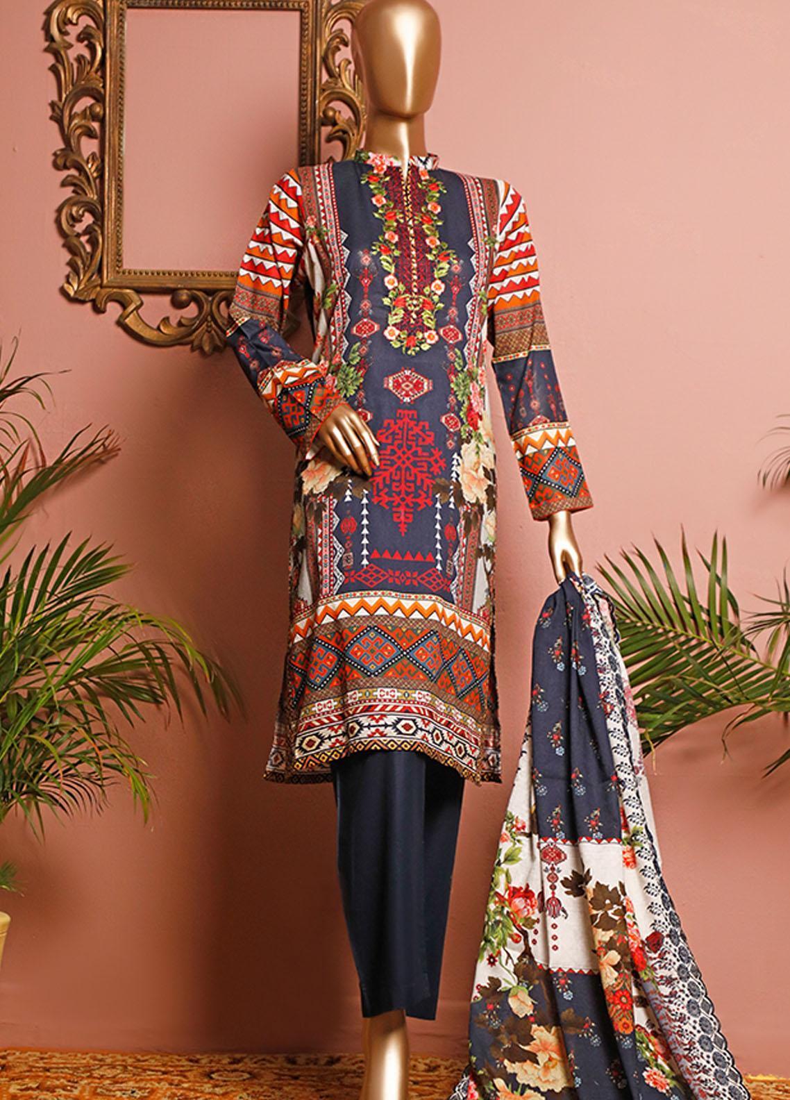 HZ Textiles Embroidered Lawn Unstitched 3 Piece Suit HZ20-D3 10 - Summer Collection