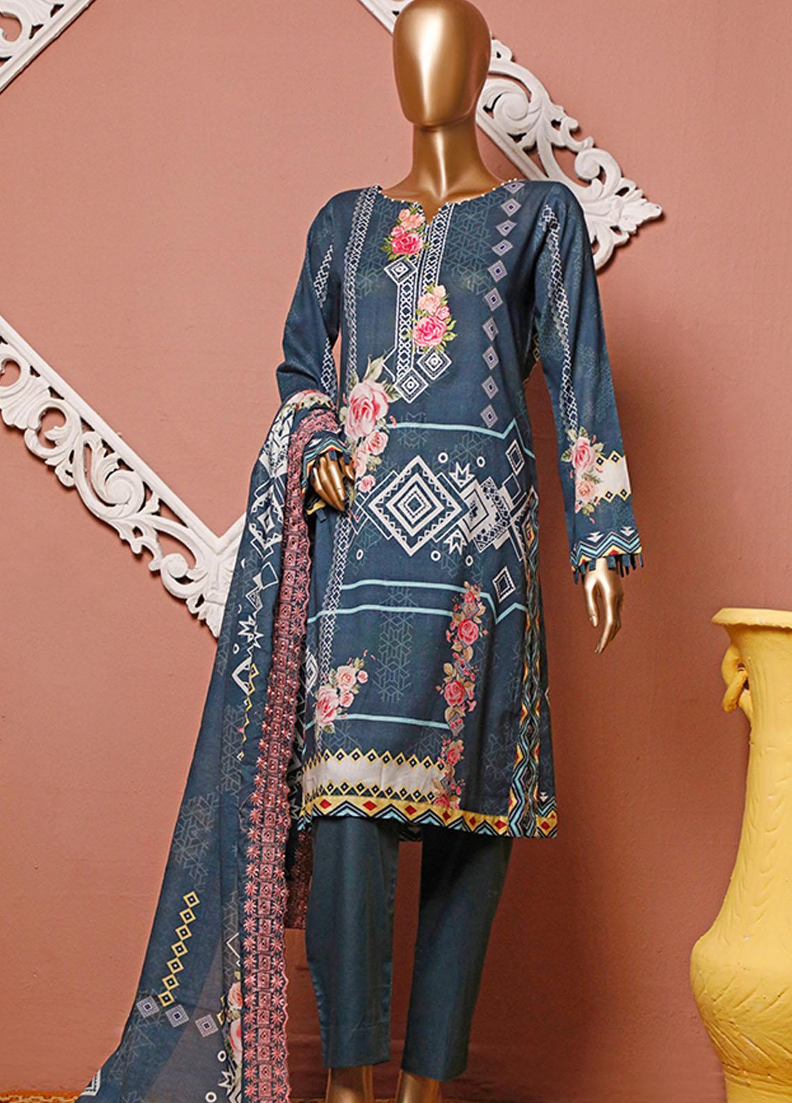 HZ Textiles Embroidered Lawn Unstitched 3 Piece Suit HZ20-D3 12 - Summer Collection