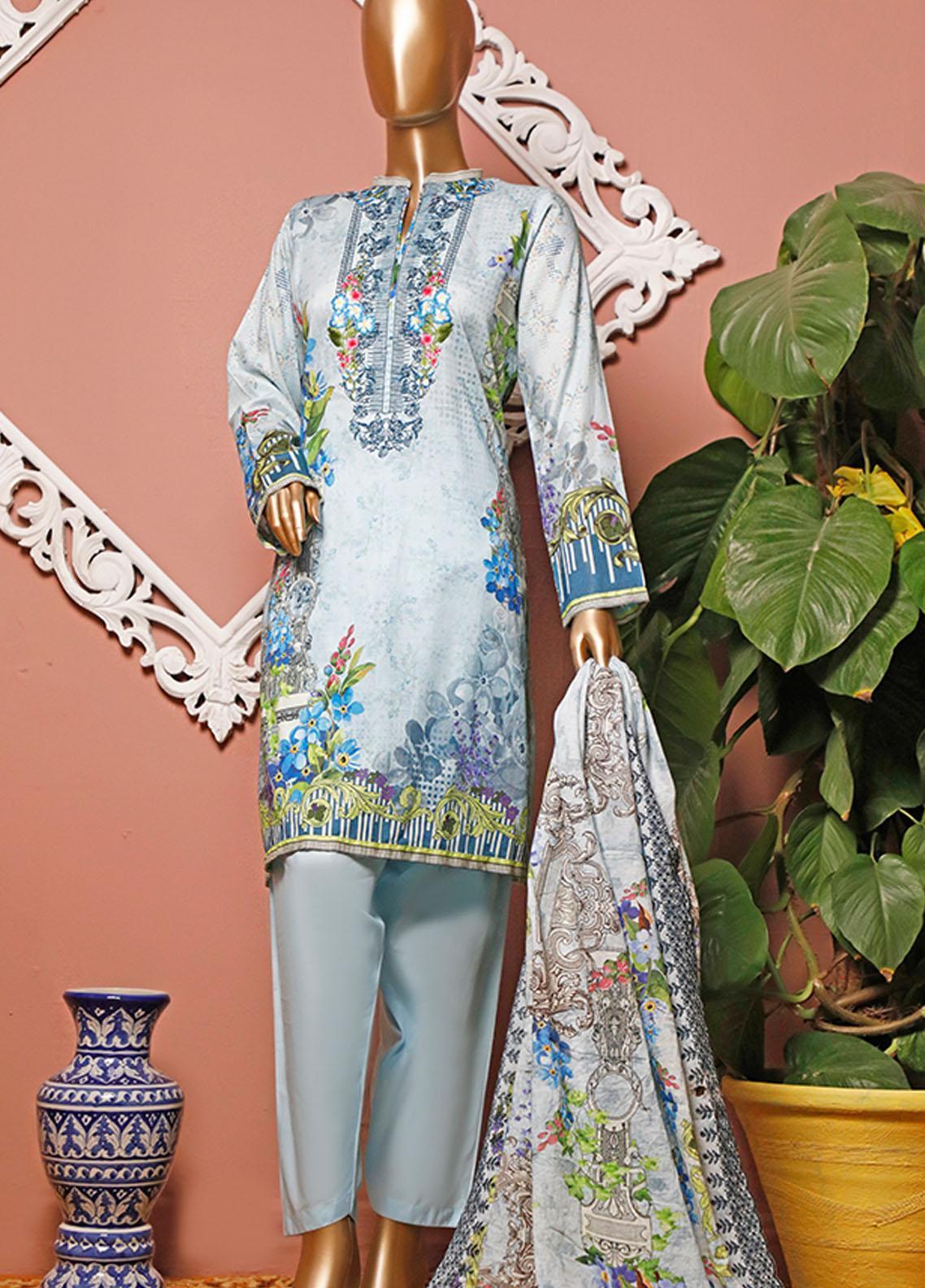 HZ Textiles Embroidered Lawn Unstitched 3 Piece Suit HZ20-D3 13 - Summer Collection