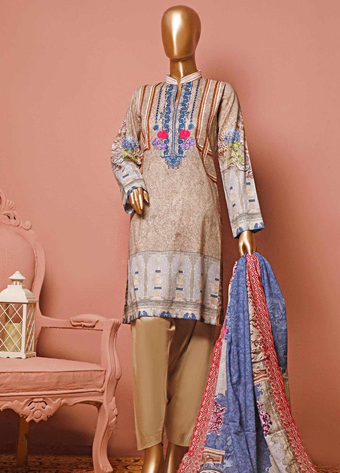 HZ Textiles Embroidered Lawn Unstitched 3 Piece Suit HZ20-D3 14 - Summer Collection