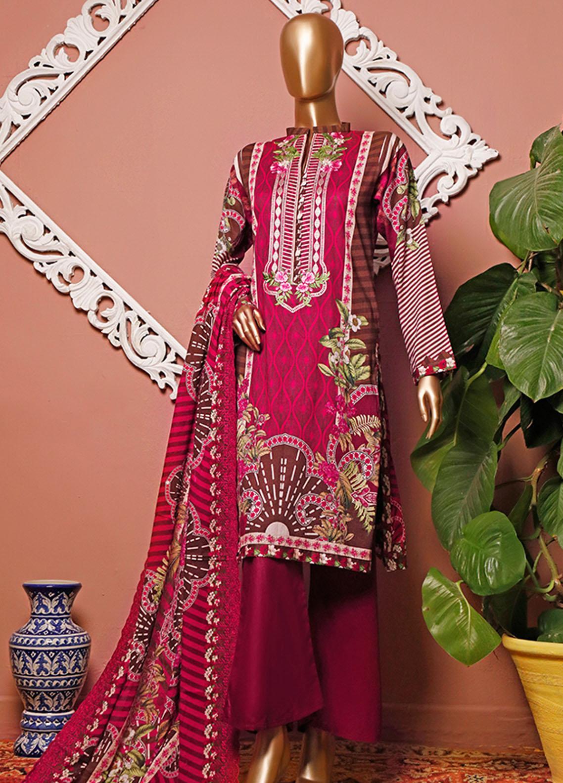 HZ Textiles Embroidered Lawn Unstitched 3 Piece Suit HZ20-D3 15 - Summer Collection