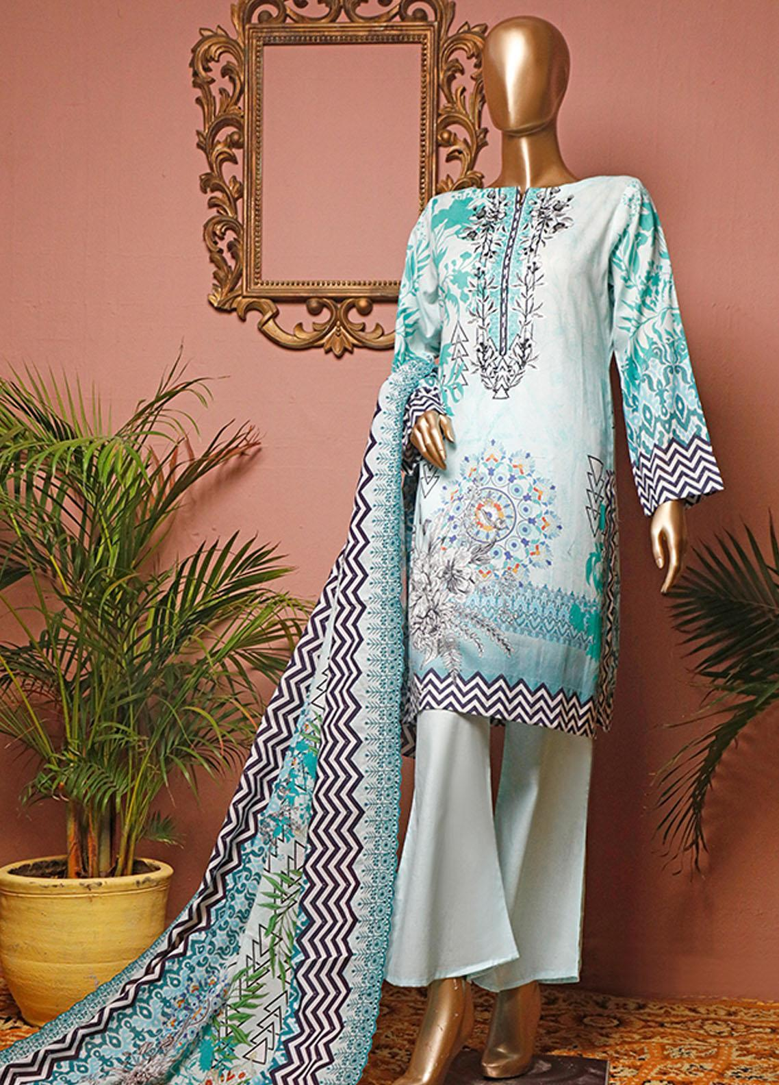 HZ Textiles Embroidered Lawn Unstitched 3 Piece Suit HZ20-D3 17 - Summer Collection