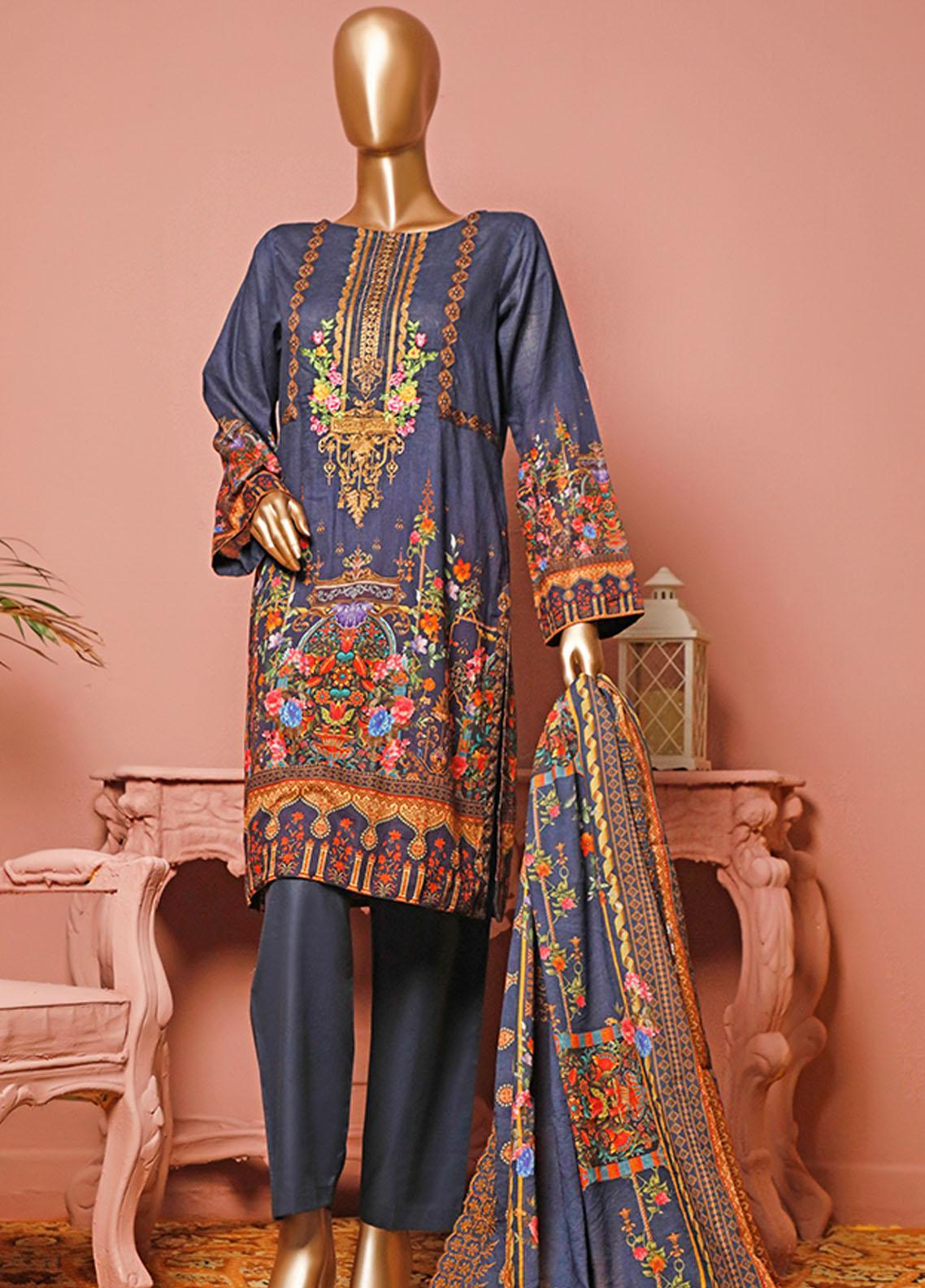 HZ Textiles Embroidered Lawn Unstitched 3 Piece Suit HZ20-D3 18 - Summer Collection
