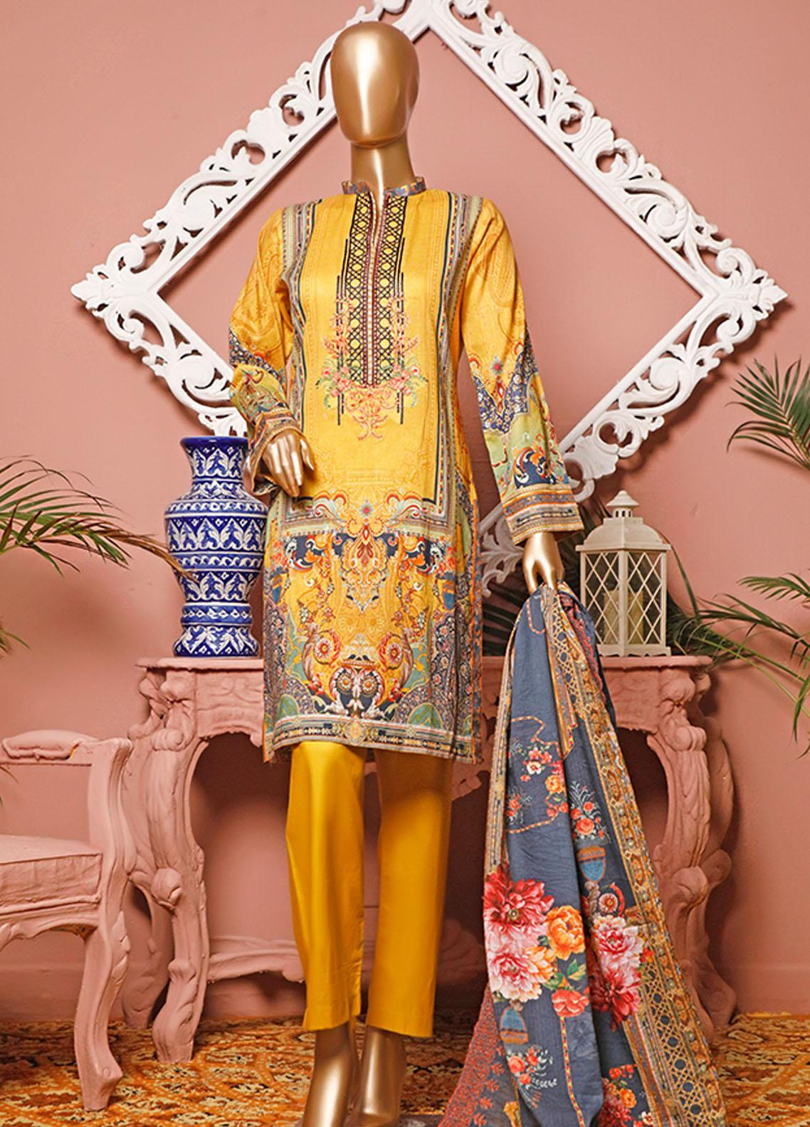 HZ Textiles Embroidered Lawn Unstitched 3 Piece Suit HZ20-D3 20 - Summer Collection