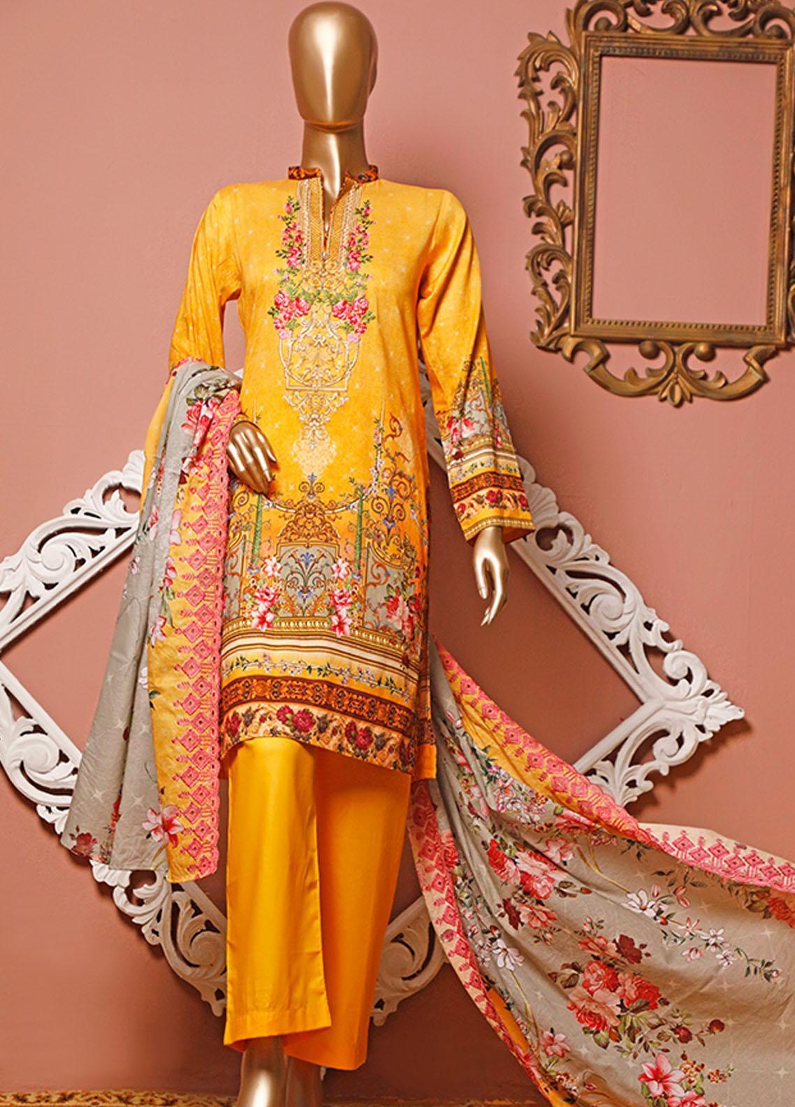 HZ Textiles Embroidered Lawn Unstitched 3 Piece Suit HZ20-D3 21 - Summer Collection