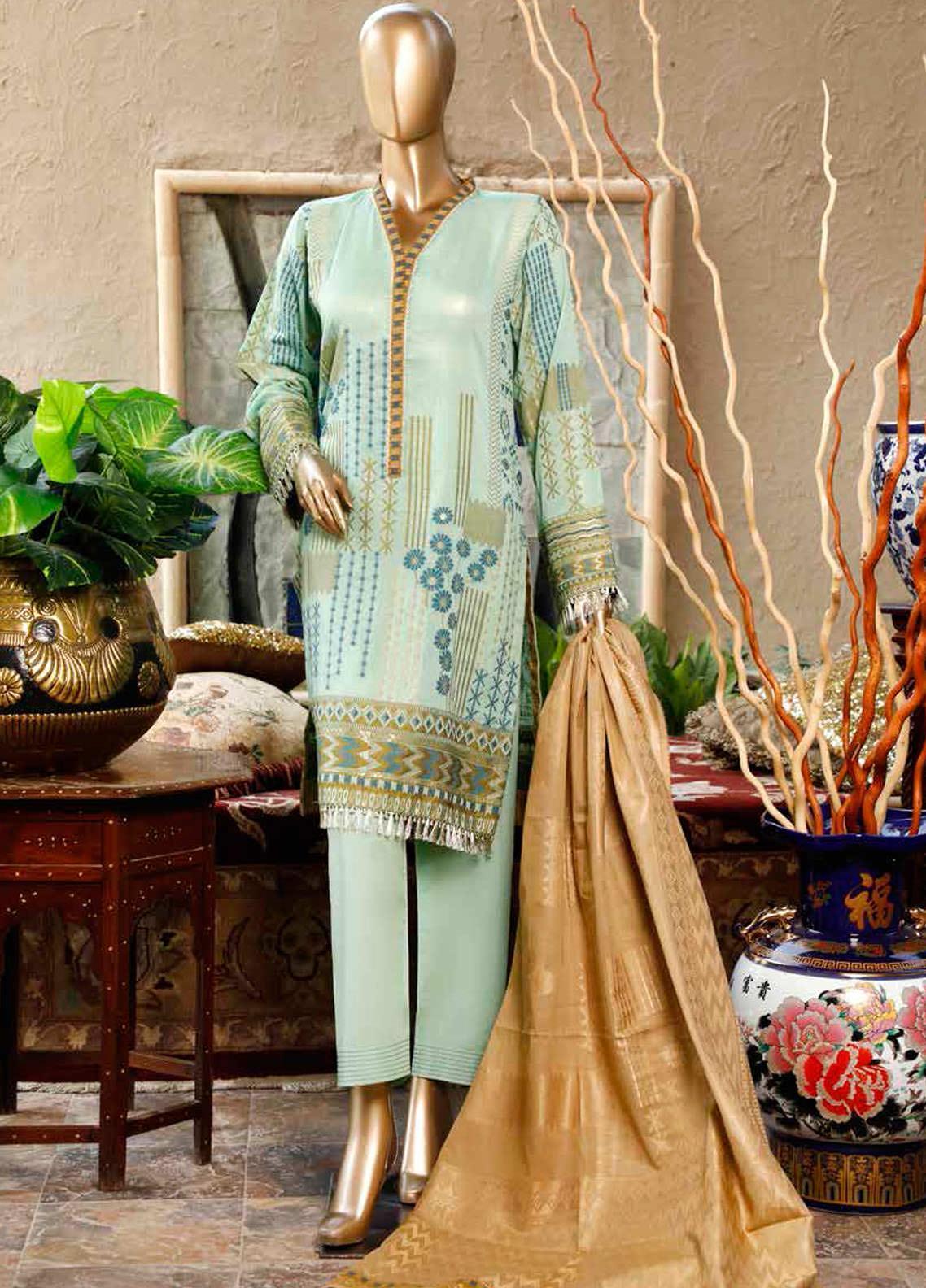 HZ Textiles Printed Lawn Unstitched 3 Piece Suit HZ20DJ 06 Mint Green - Summer Collection