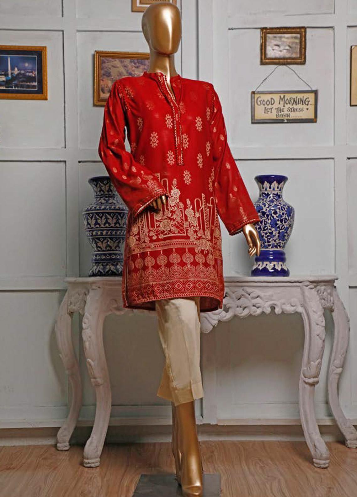 HZ Textiles Printed Jacquard Unstitched Kurties HZ20K 02-Maroon - Spring / Summer Collection
