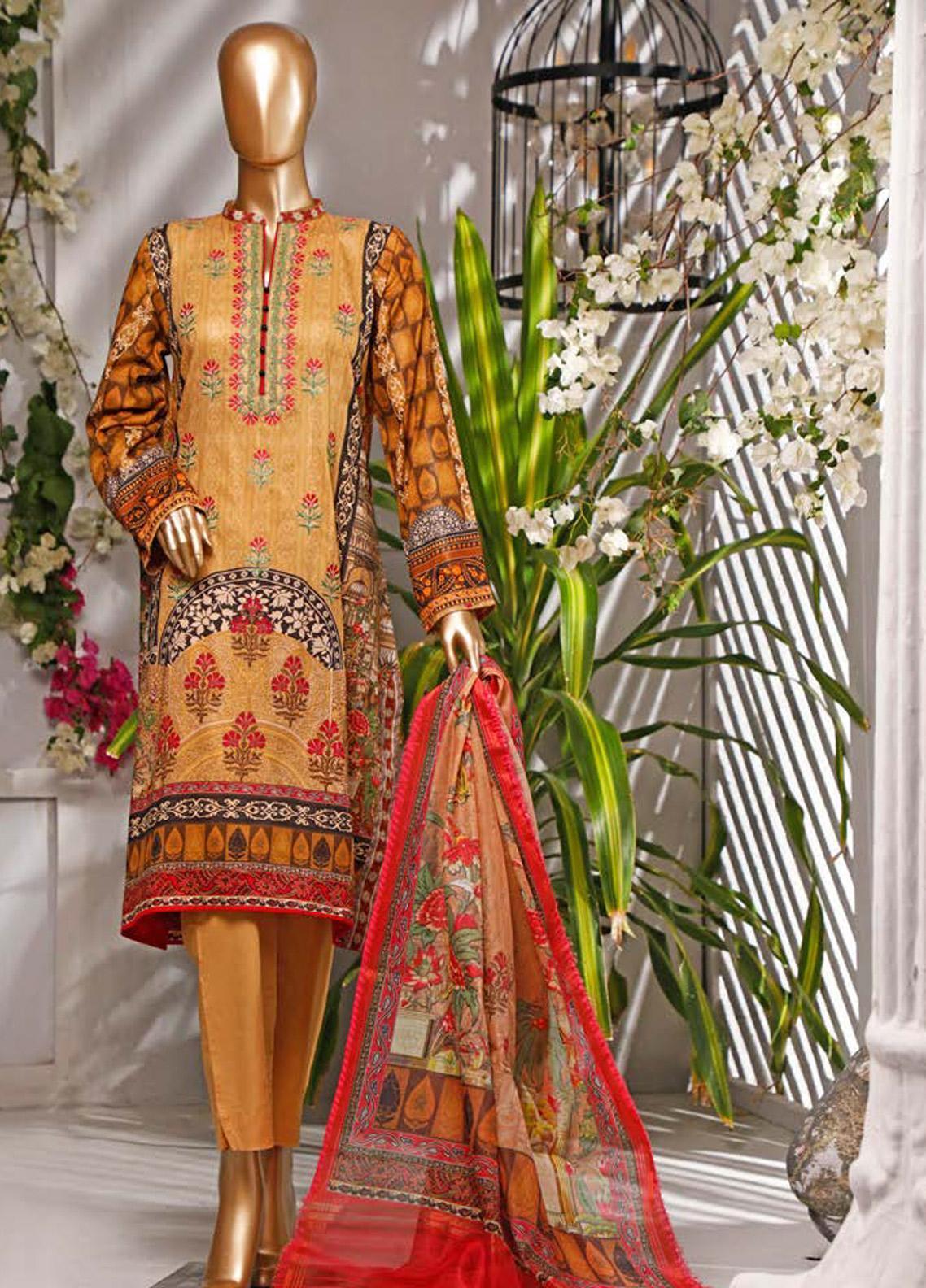 HZ Textiles Embroidered Lawn Unstitched 3 Piece Suit HZ20P 1 Golden - Spring / Summer Collection