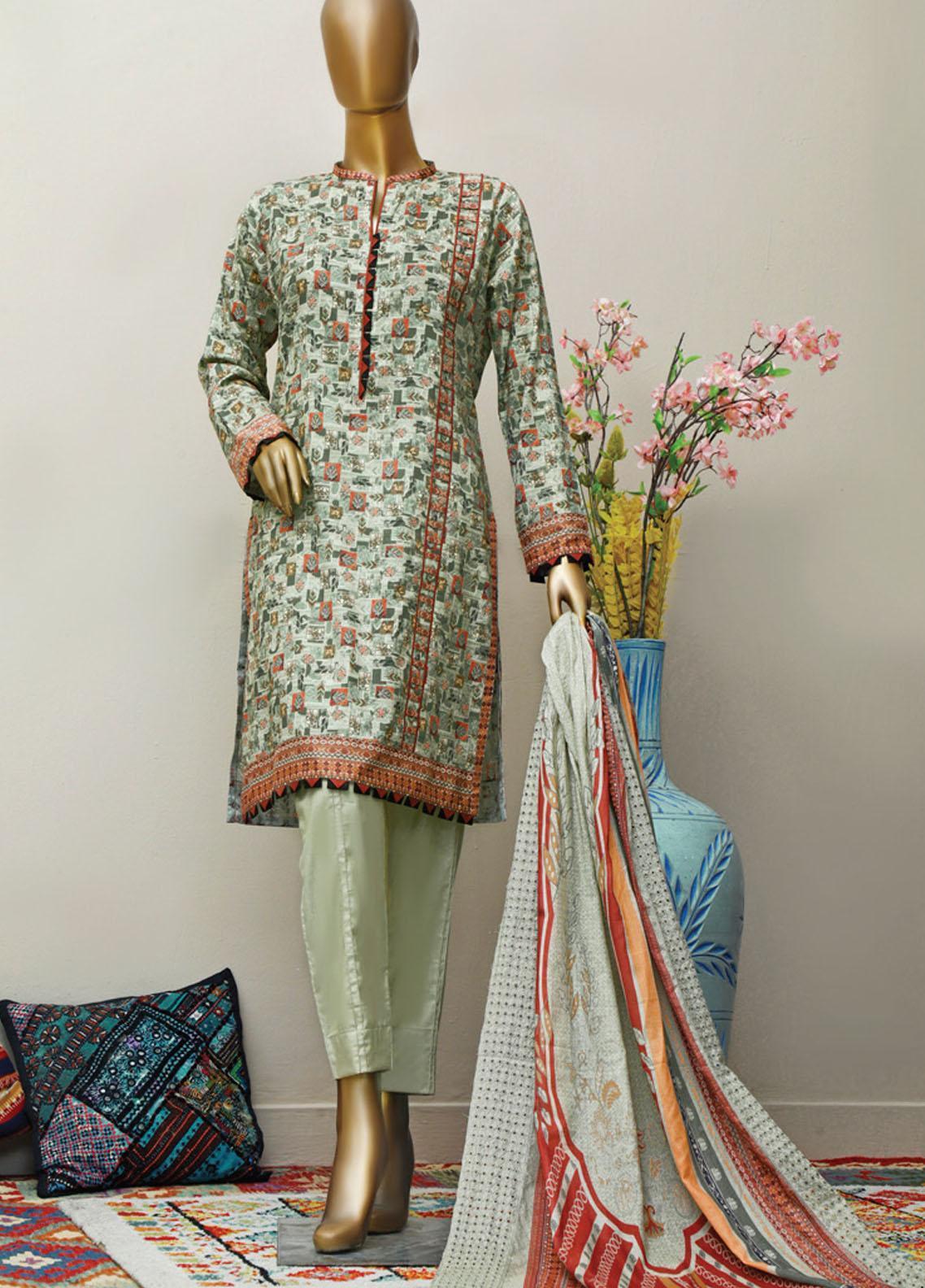HZ Textiles Embroidered Lawn Suits Unstitched 3 Piece HZ21M 02 Olive - Premium Collection