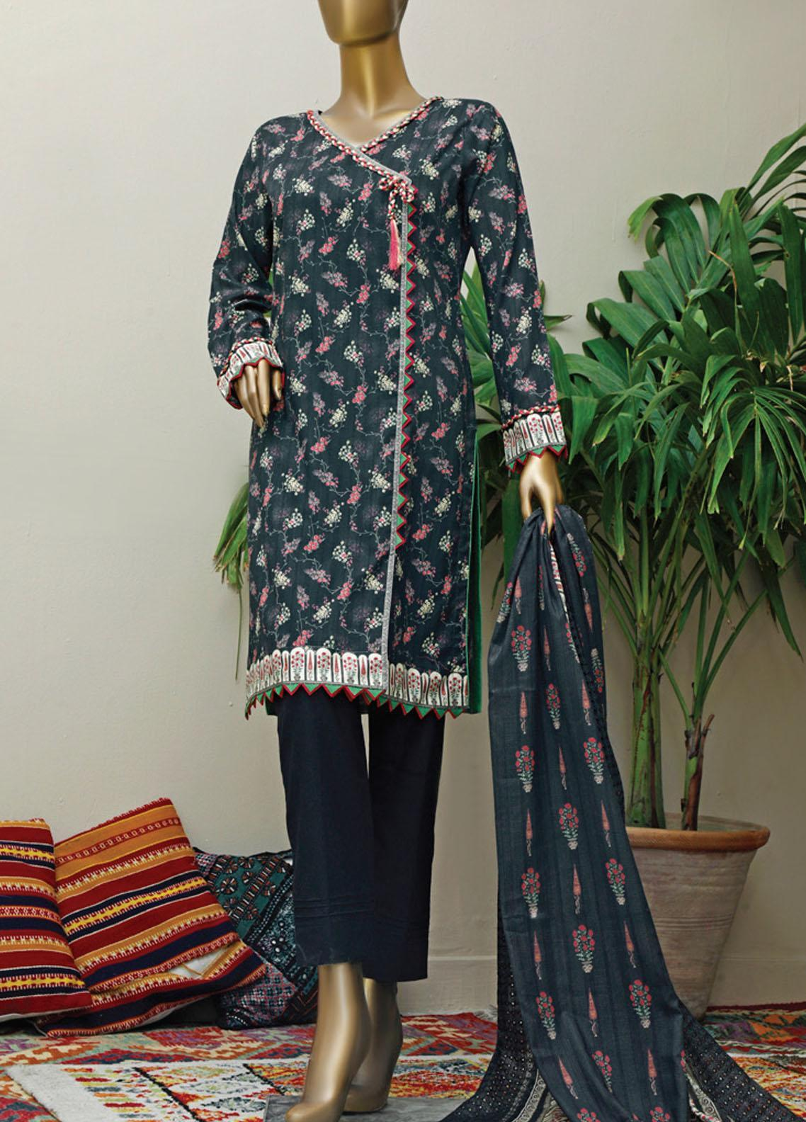 HZ Textiles Embroidered Lawn Suits Unstitched 3 Piece HZ21M 04 Black - Premium Collection