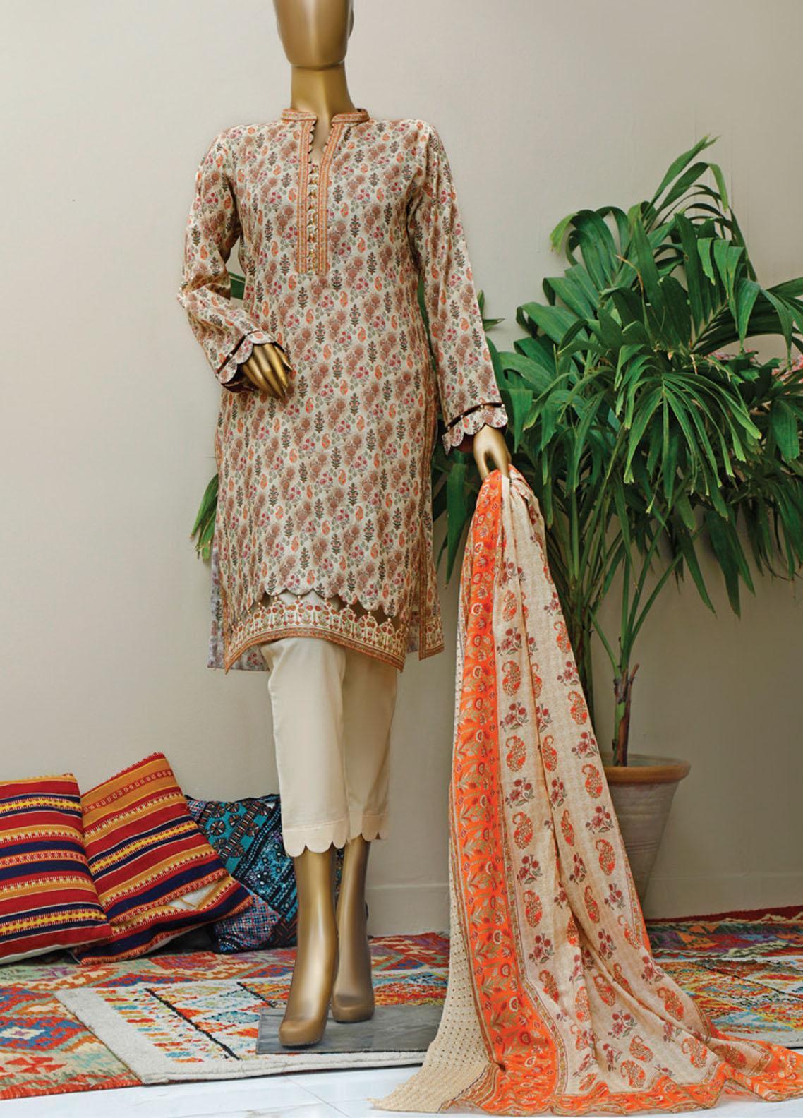 HZ Textiles Embroidered Lawn Suits Unstitched 3 Piece HZ21M 05 Skin - Premium Collection
