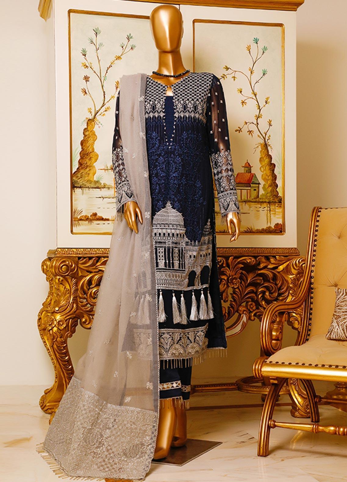 HZ Textiles Embroidered Chiffon Unstitched 3 Piece Suit HZ19C 03 - Luxury Collection