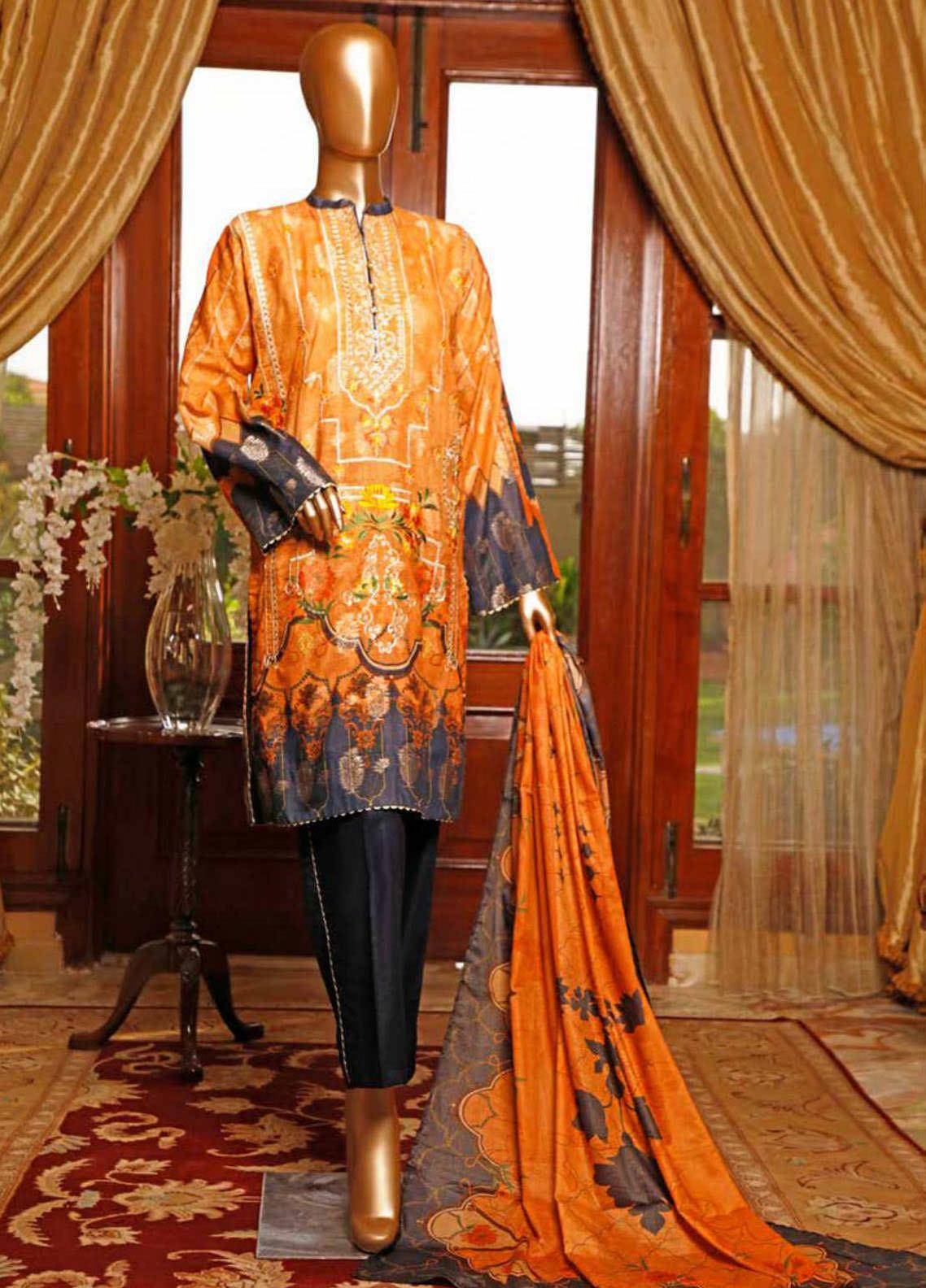 HZ Textiles Embroidered Jacquard Unstitched 3 Piece Suit HZ20TJ 01A - Summer Collection