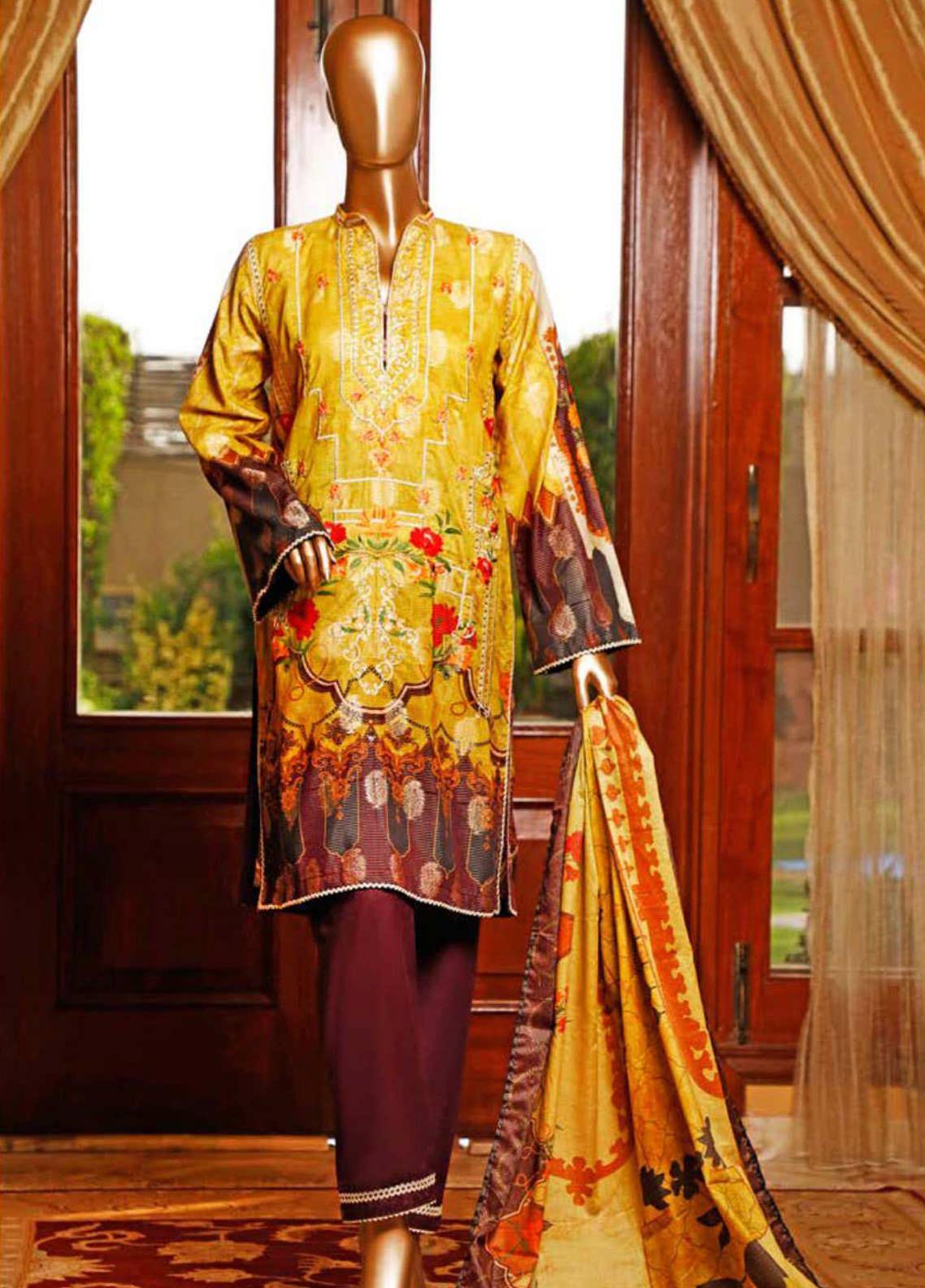HZ Textiles Embroidered Jacquard Unstitched 3 Piece Suit HZ20TJ 01B - Summer Collection