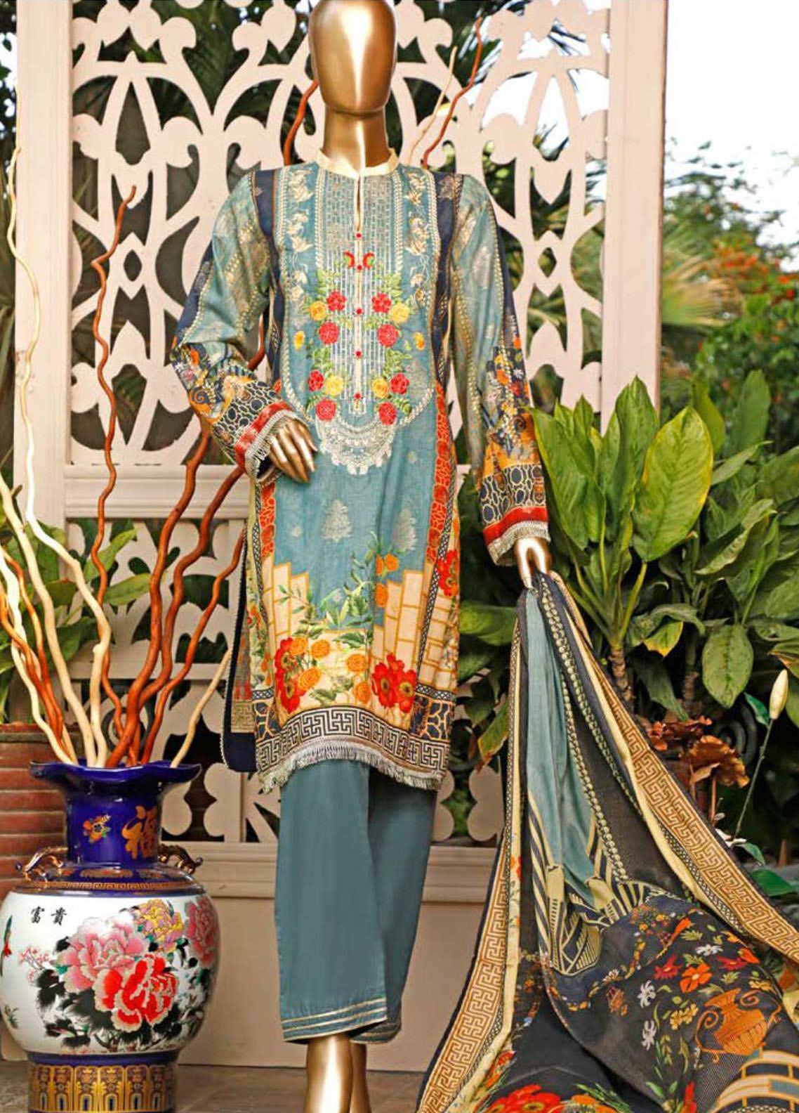 HZ Textiles Embroidered Jacquard Unstitched 3 Piece Suit HZ20TJ 02A - Summer Collection