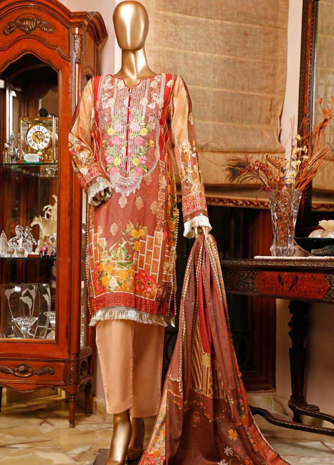 HZ Textiles Embroidered Jacquard Unstitched 3 Piece Suit HZ20TJ 02B - Summer Collection