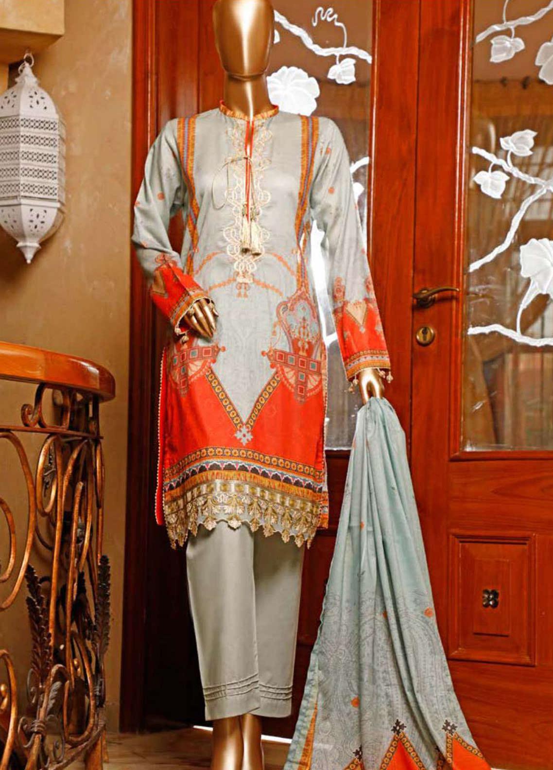 HZ Textiles Embroidered Jacquard Unstitched 3 Piece Suit HZ20TJ 03A - Summer Collection