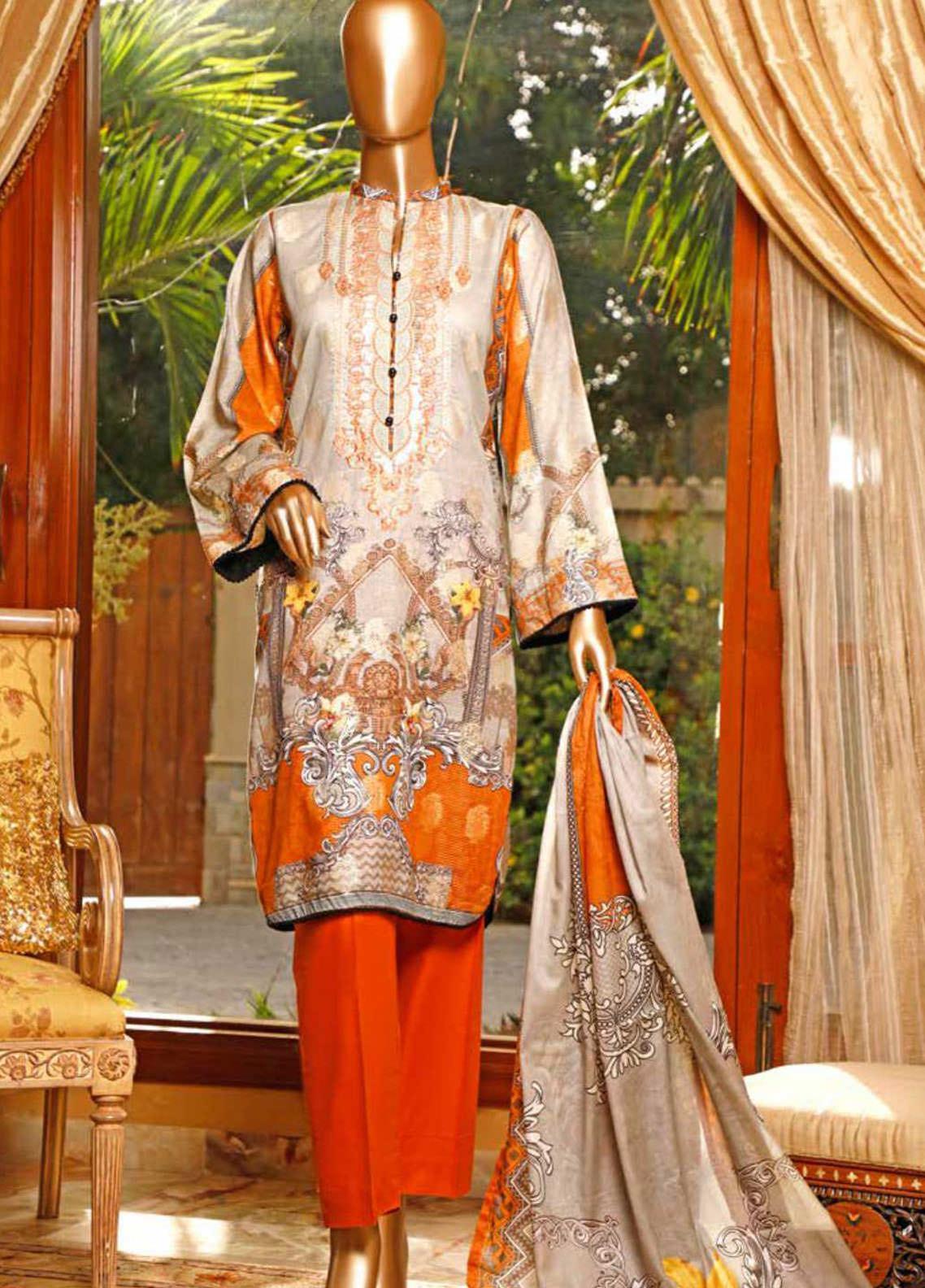 HZ Textiles Embroidered Jacquard Unstitched 3 Piece Suit HZ20TJ 04A - Summer Collection