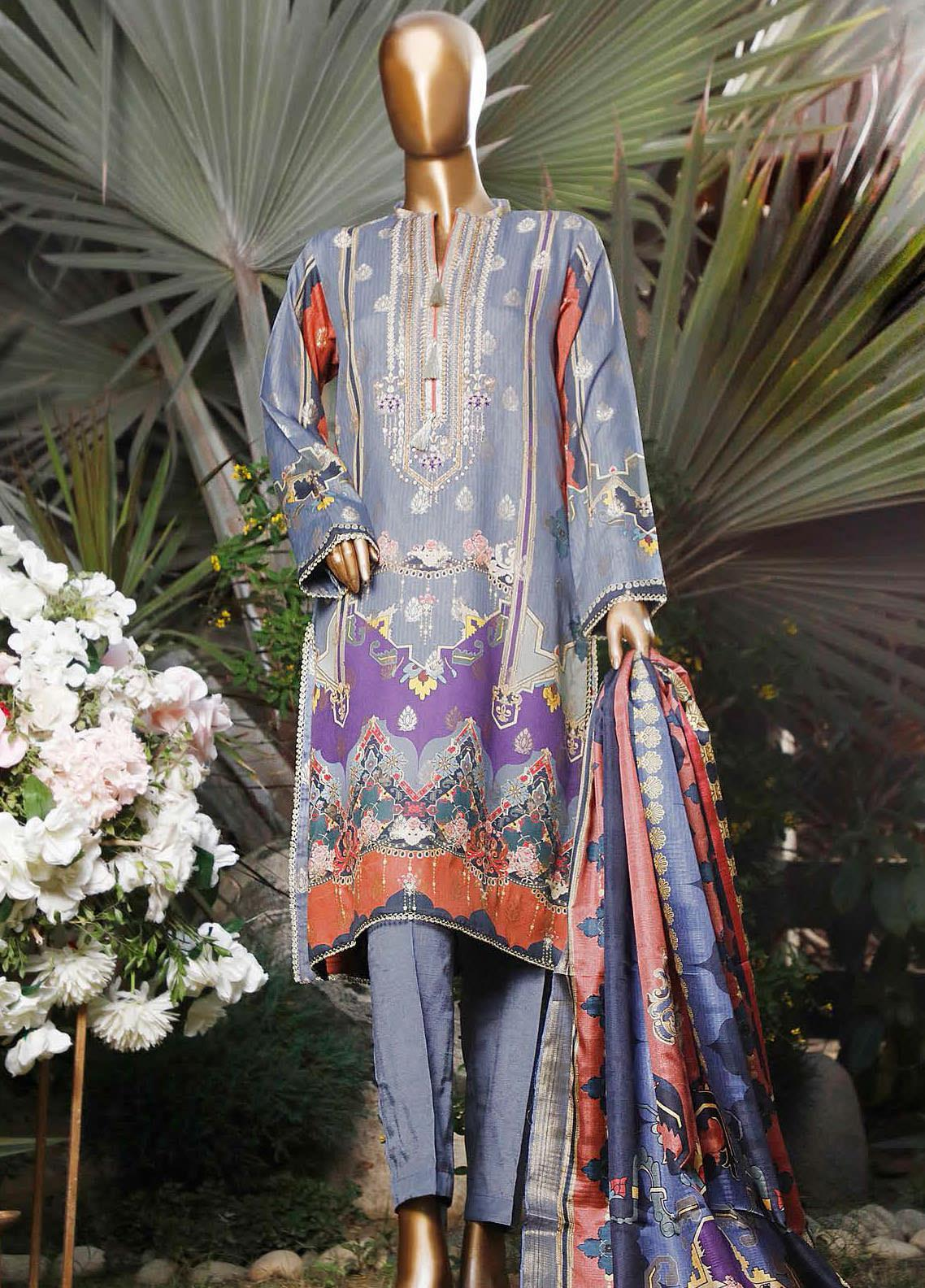Turkish Jacquard by HZ Embroidered Viscose Unstitched 3 Piece Suit HZ20TV D-01-A - Festive Collection